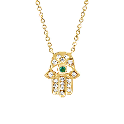Tsavorite Hamsa Necklace - EF Collection - necklaces | Broken English Jewelry