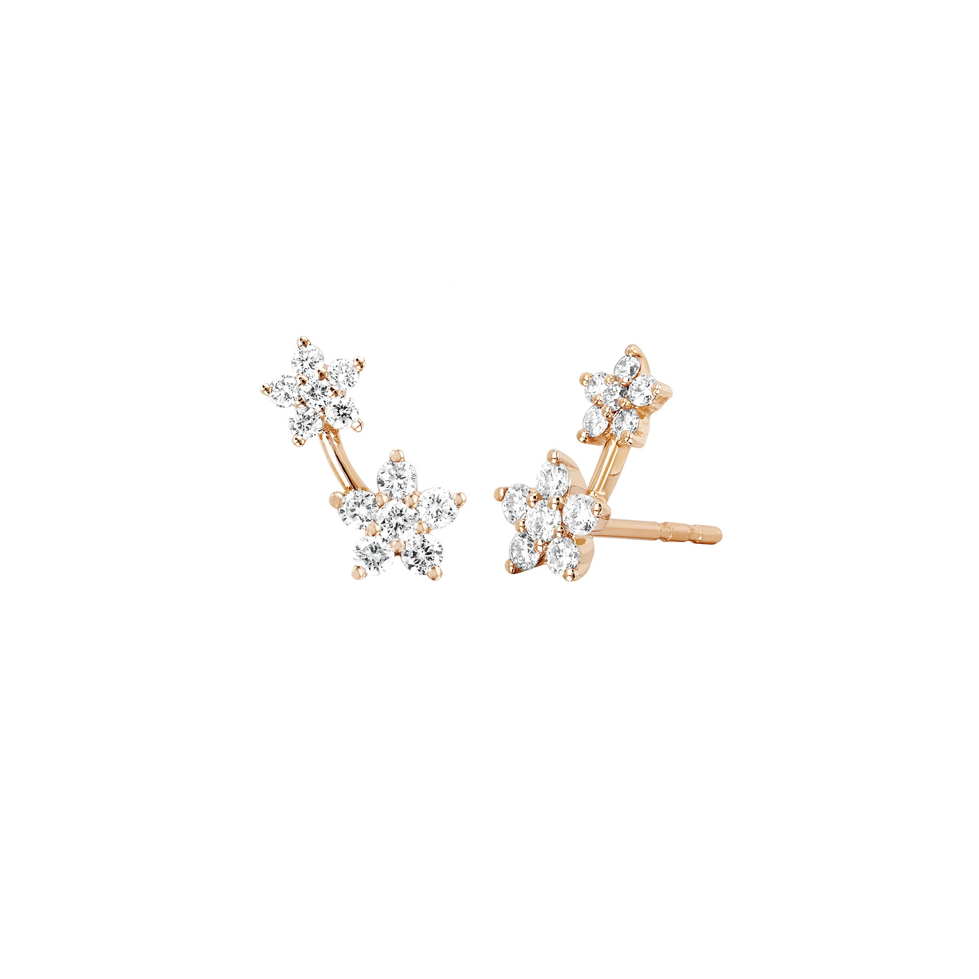 Diamond Double Flower Earring