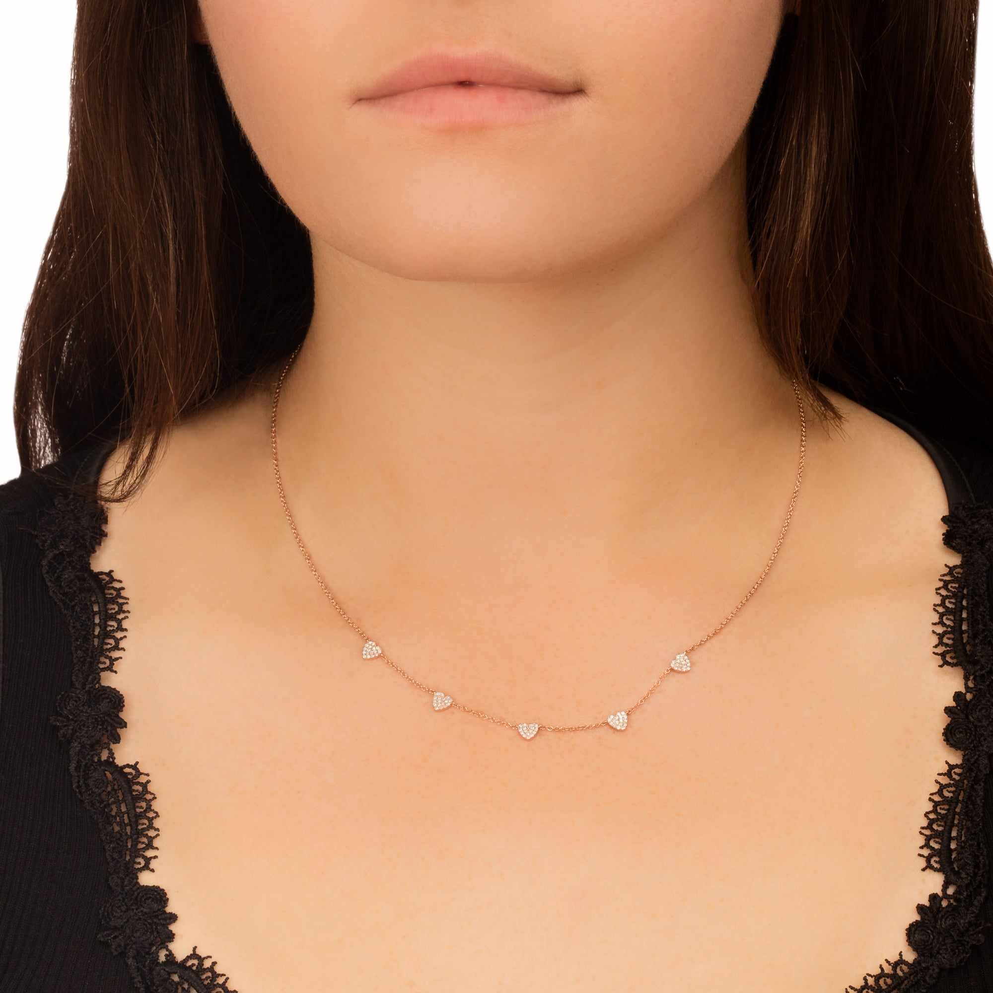 5 Mini Diamond Heart Necklace - EF Collection - necklaces | Broken English Jewelry