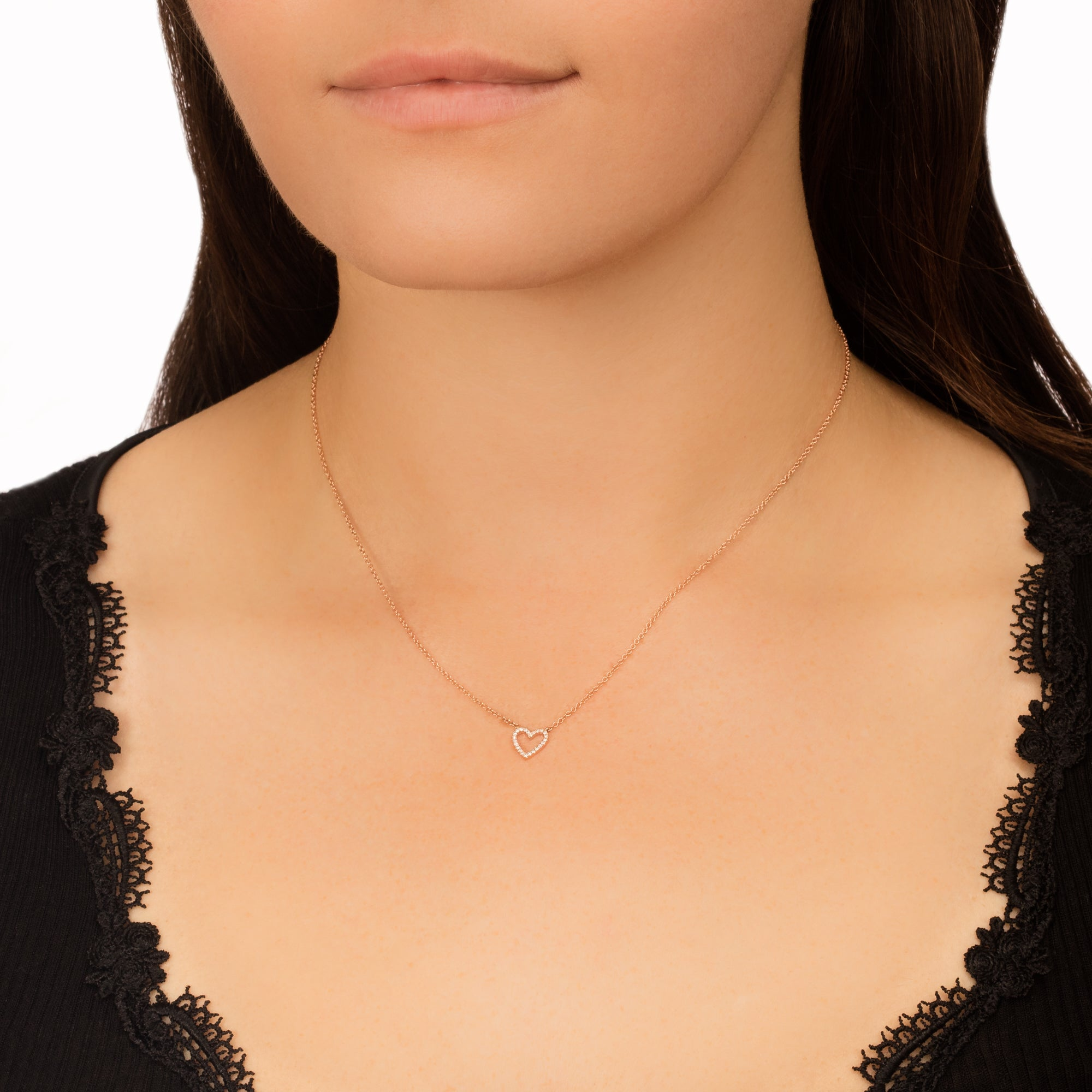 Diamond Open Heart Necklace by EF Collection for Broken English Jewelry