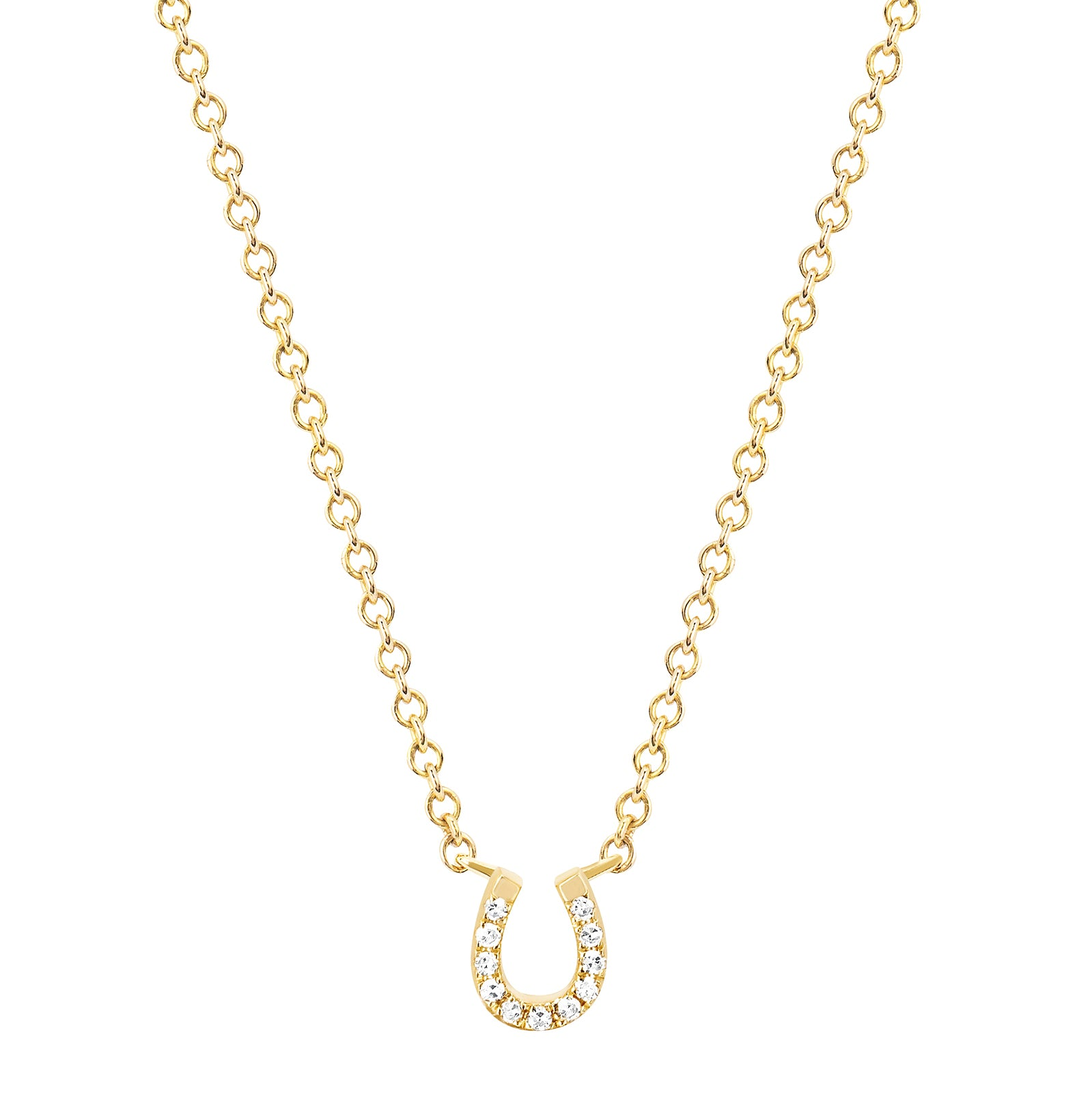 EF Collection Mini Horseshoe Choker - Yellow Gold - Necklaces - Broken English Jewelry