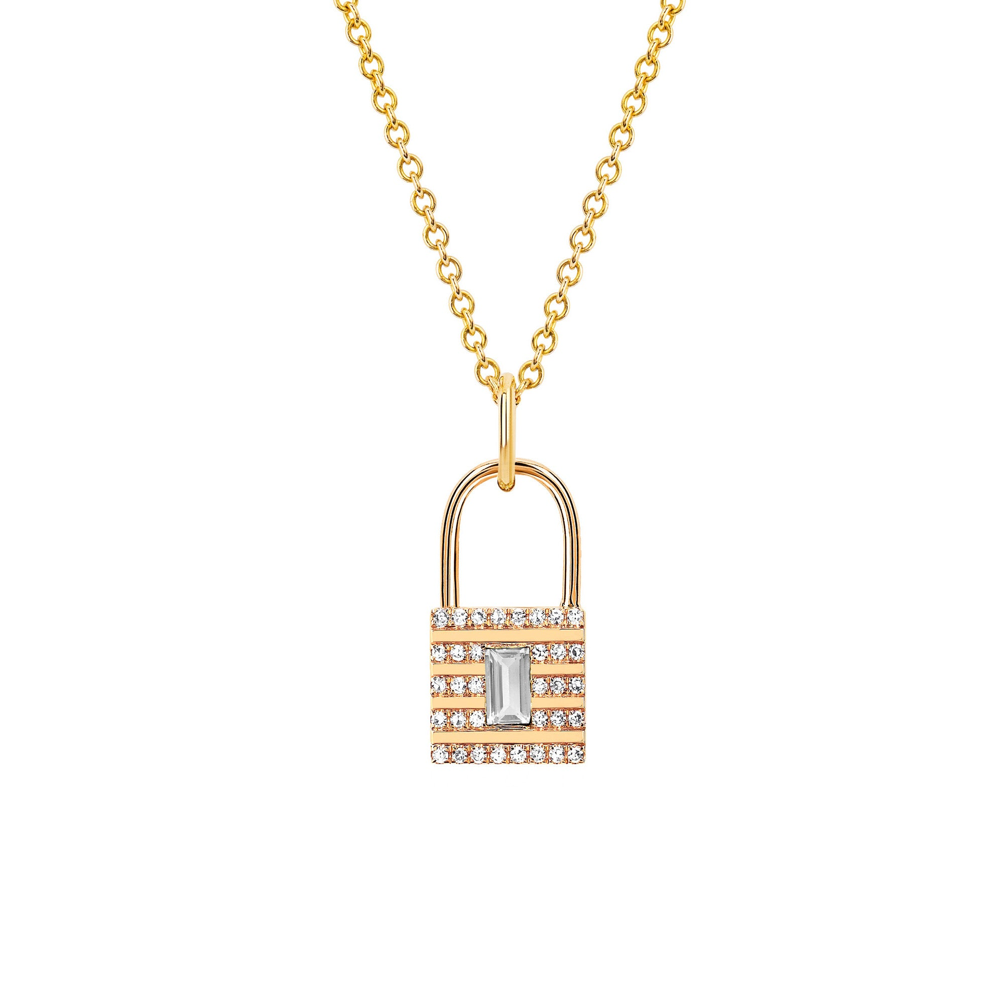 Mini Diamond Lock Necklace
