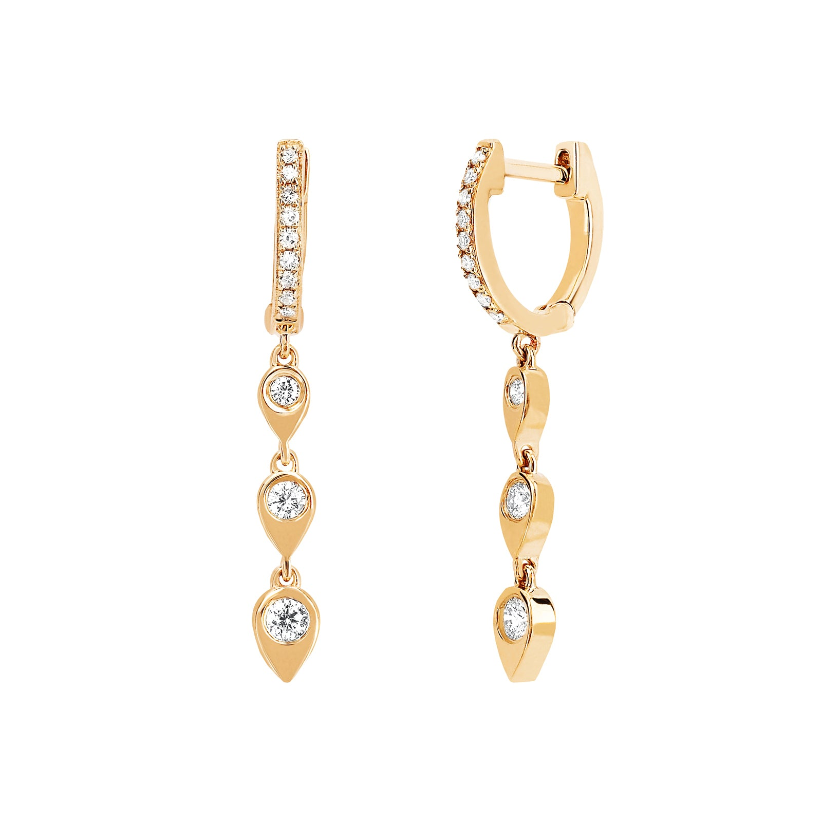 EF Collection Teardrop Diamond Huggie Drop Earrings - Yellow Gold - Earrings - Broken English Jewelry