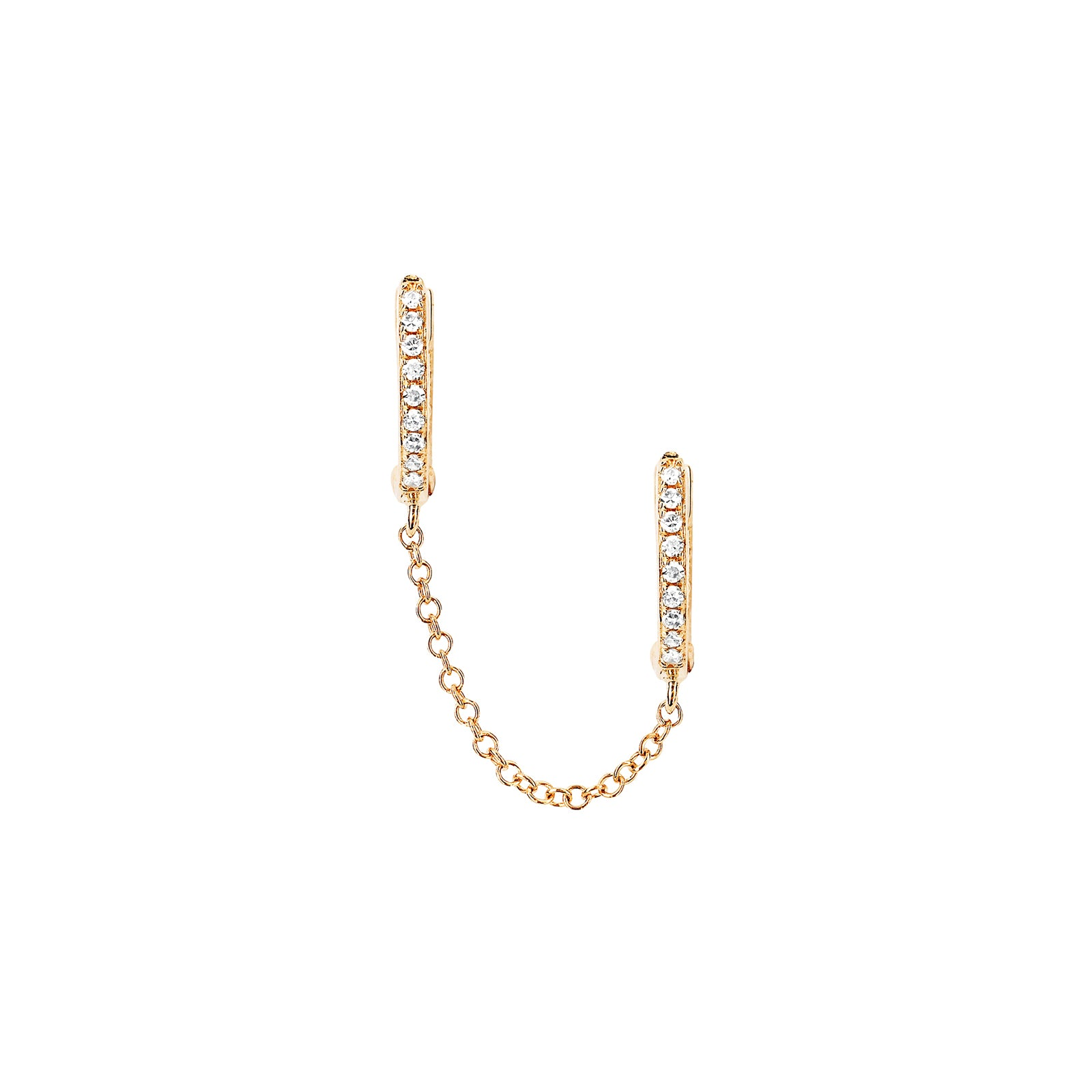 EF Collection Diamond Double Huggie Chain Earring - Yellow Gold - Earrings - Broken English Jewelry