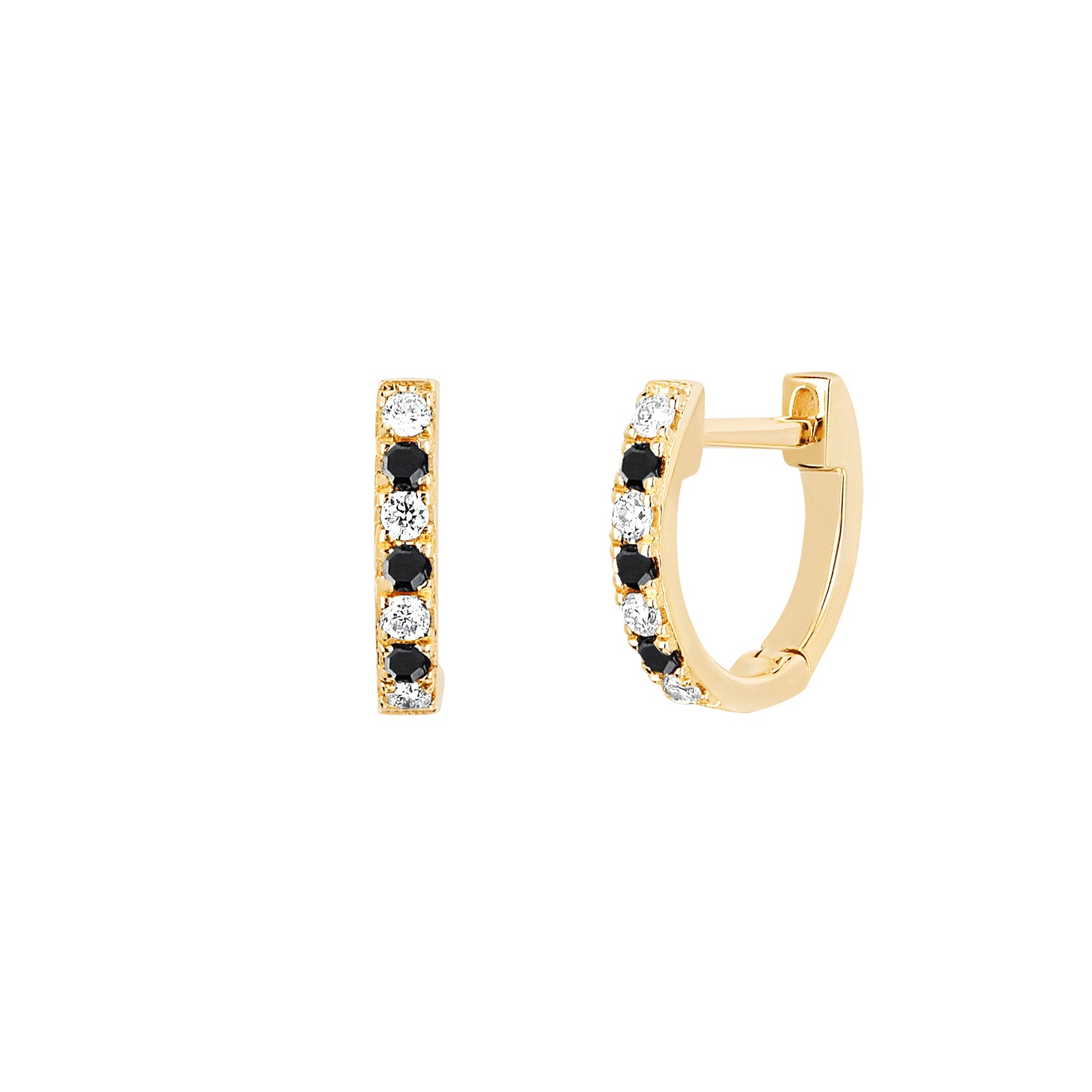 EF Collection Black & White Diamond Huggies - Yellow Gold - Earrings - Broken English Jewelry