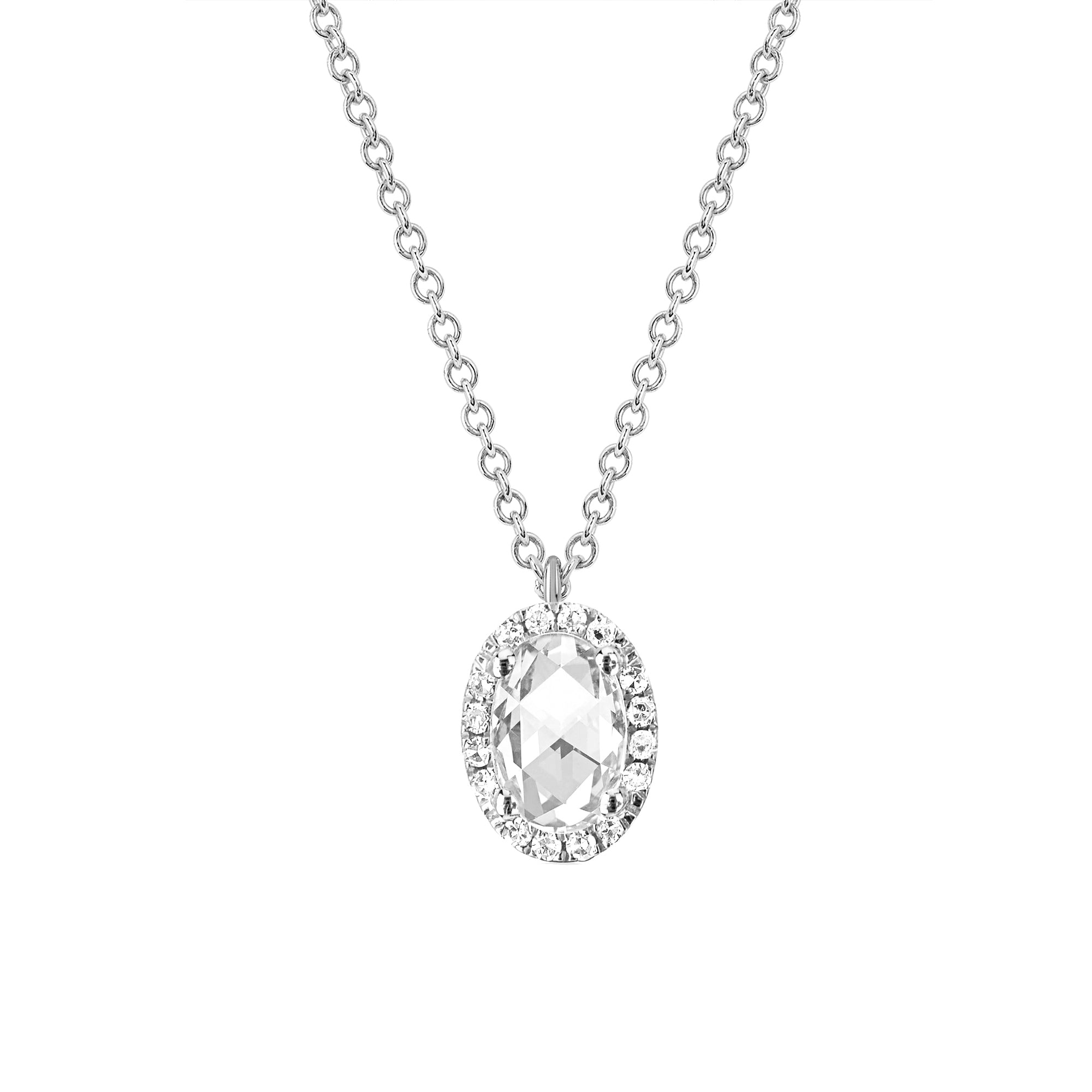 Diamond and White Topaz Oval Necklace