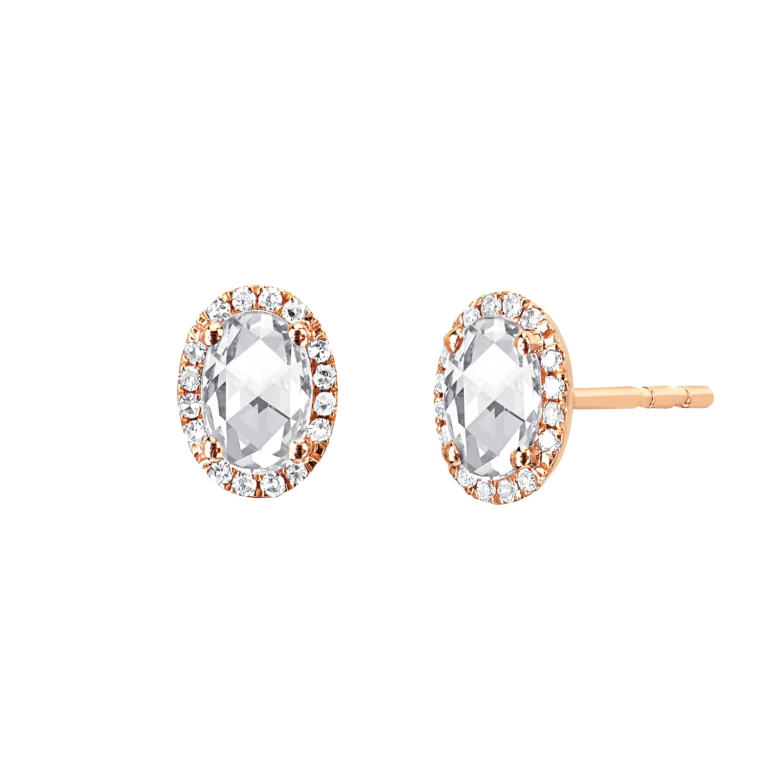 EF Collection Diamond & White Topaz Oval Studs - Yellow Gold - Earrings - Broken English Jewelry