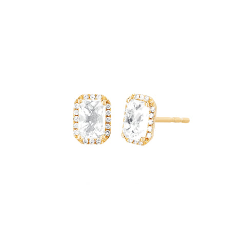 Diamond and White Topaz Emerald Cut Studs
