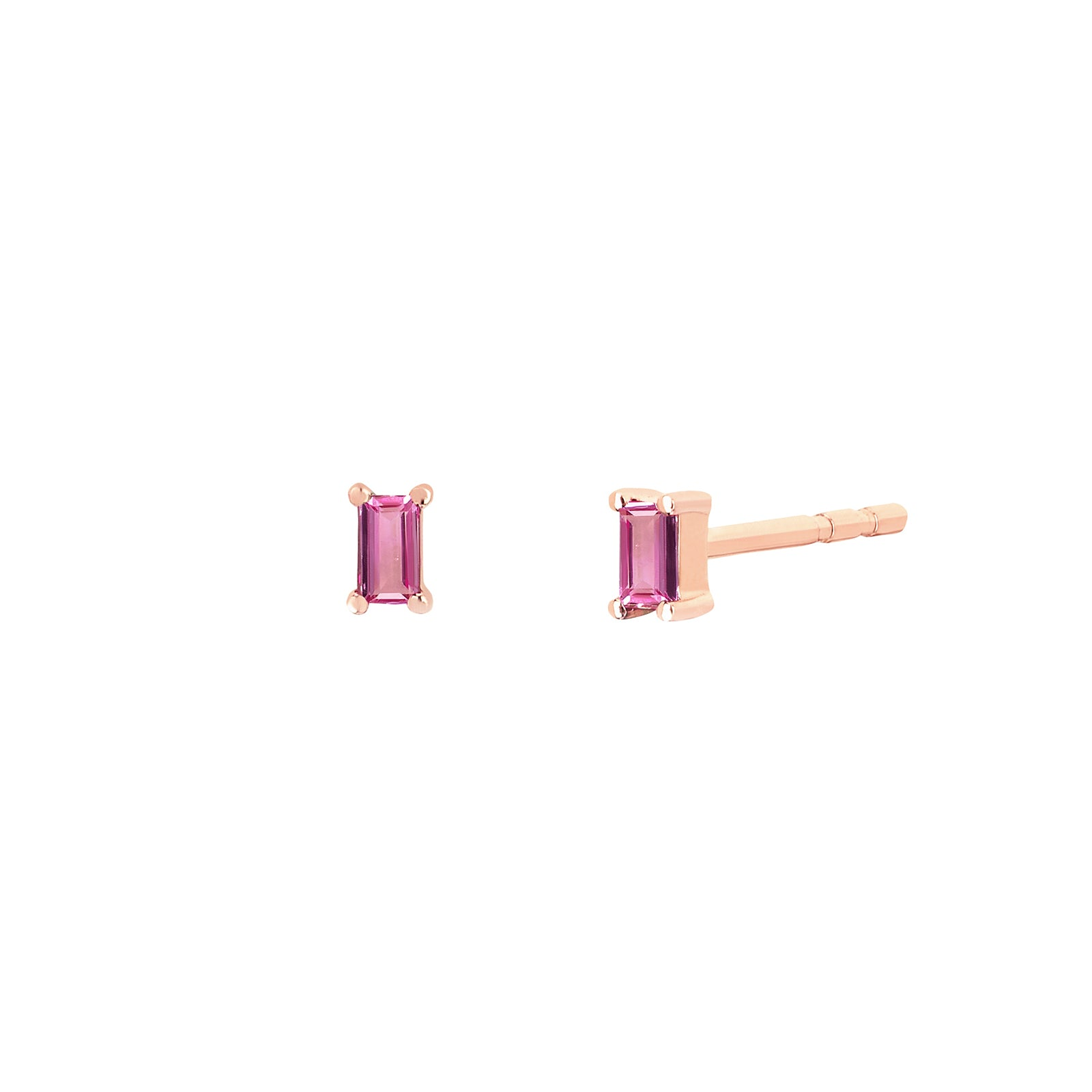 EF Collection Pink Sapphire Baguette Studs - Rose Gold - Earrings - Broken English Jewelry