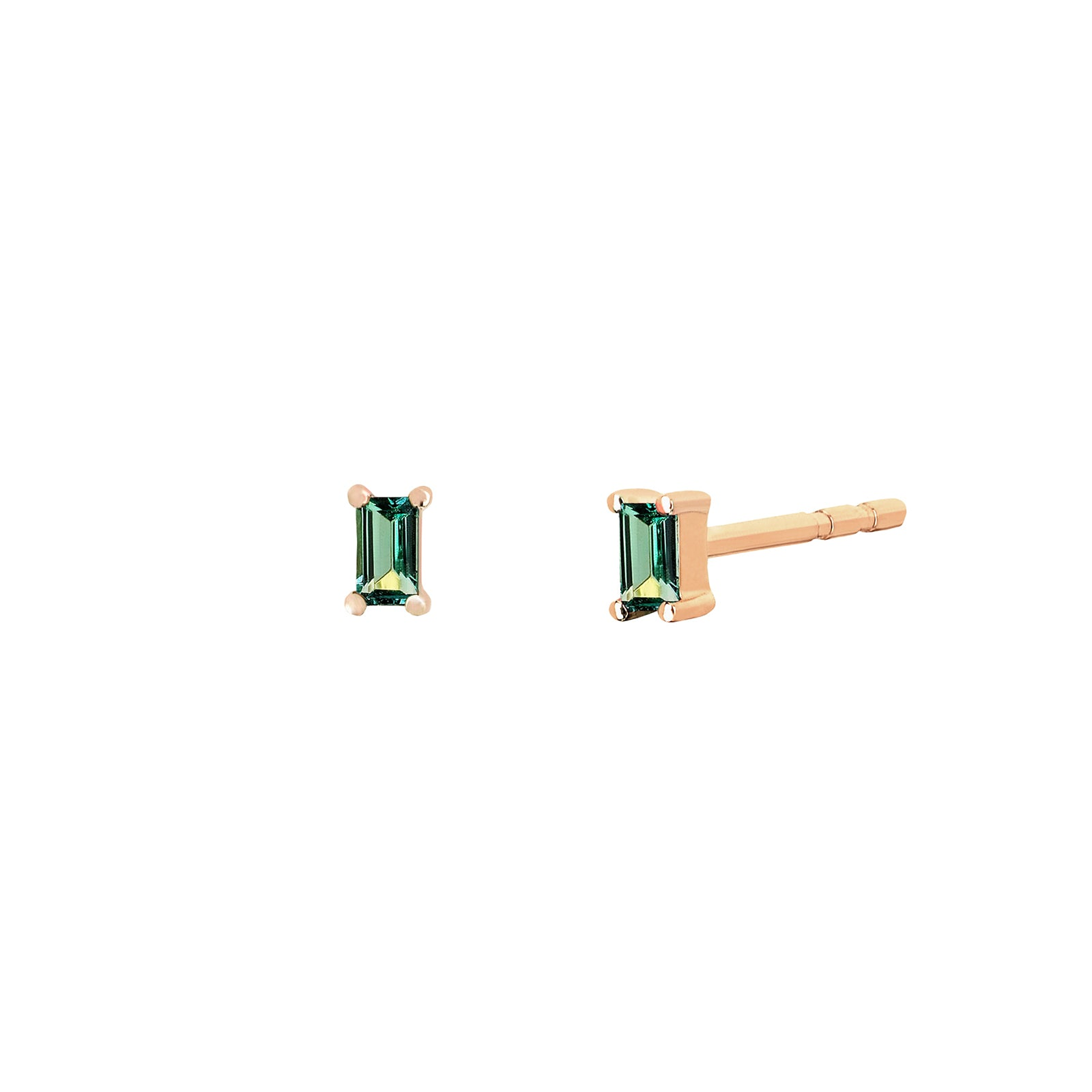 EF Collection Emerald Baguette Studs - Yellow Gold - Earrings - Broken English Jewelry
