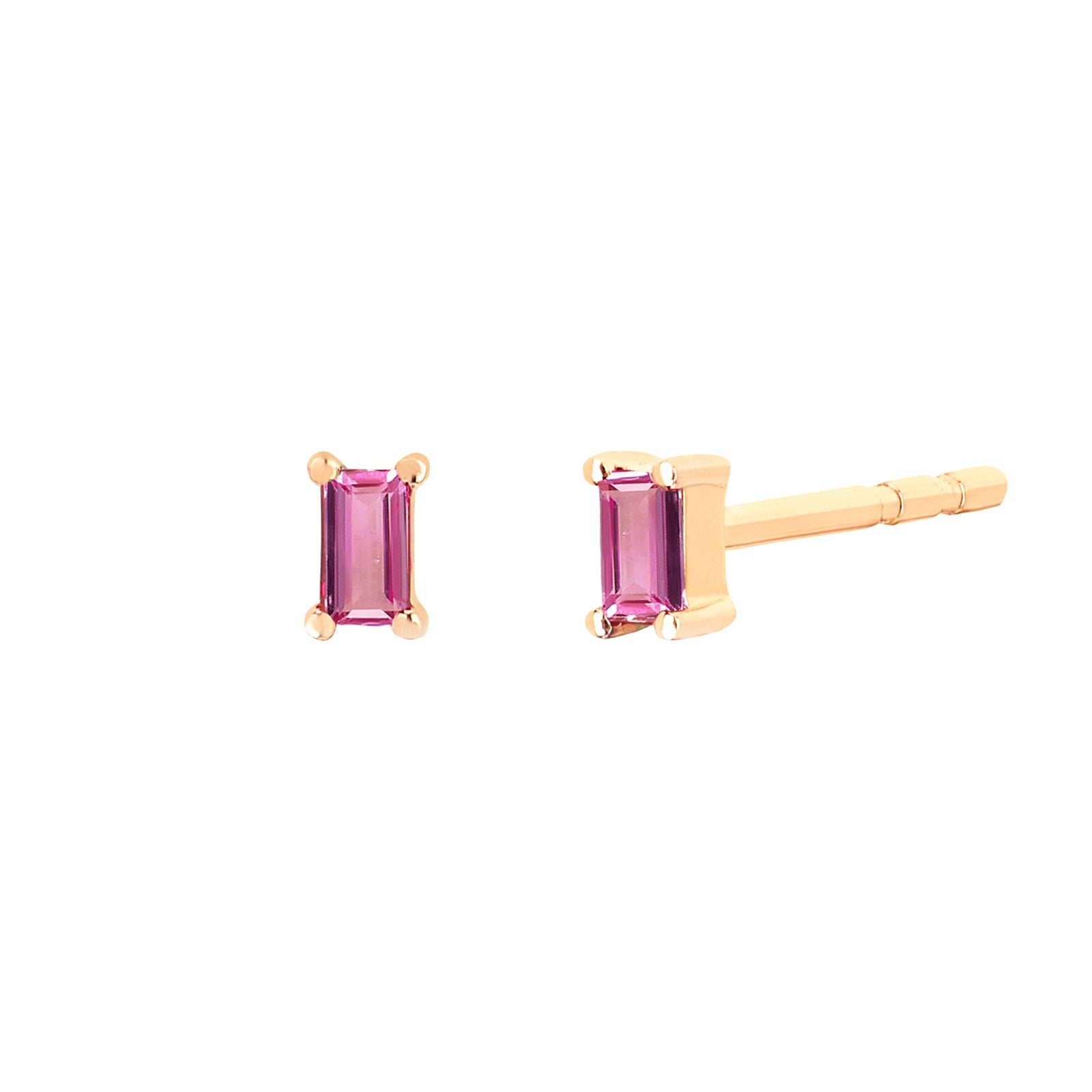 EF Collection Pink Sapphire Baguette Studs - Yellow Gold - Earrings - Broken English Jewelry
