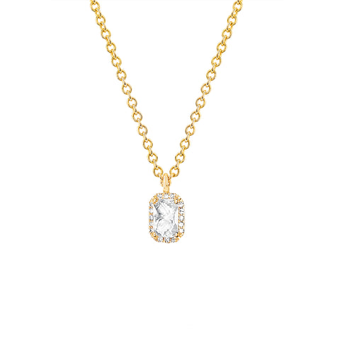 Diamond and White Topaz Emerald Cut Necklace
