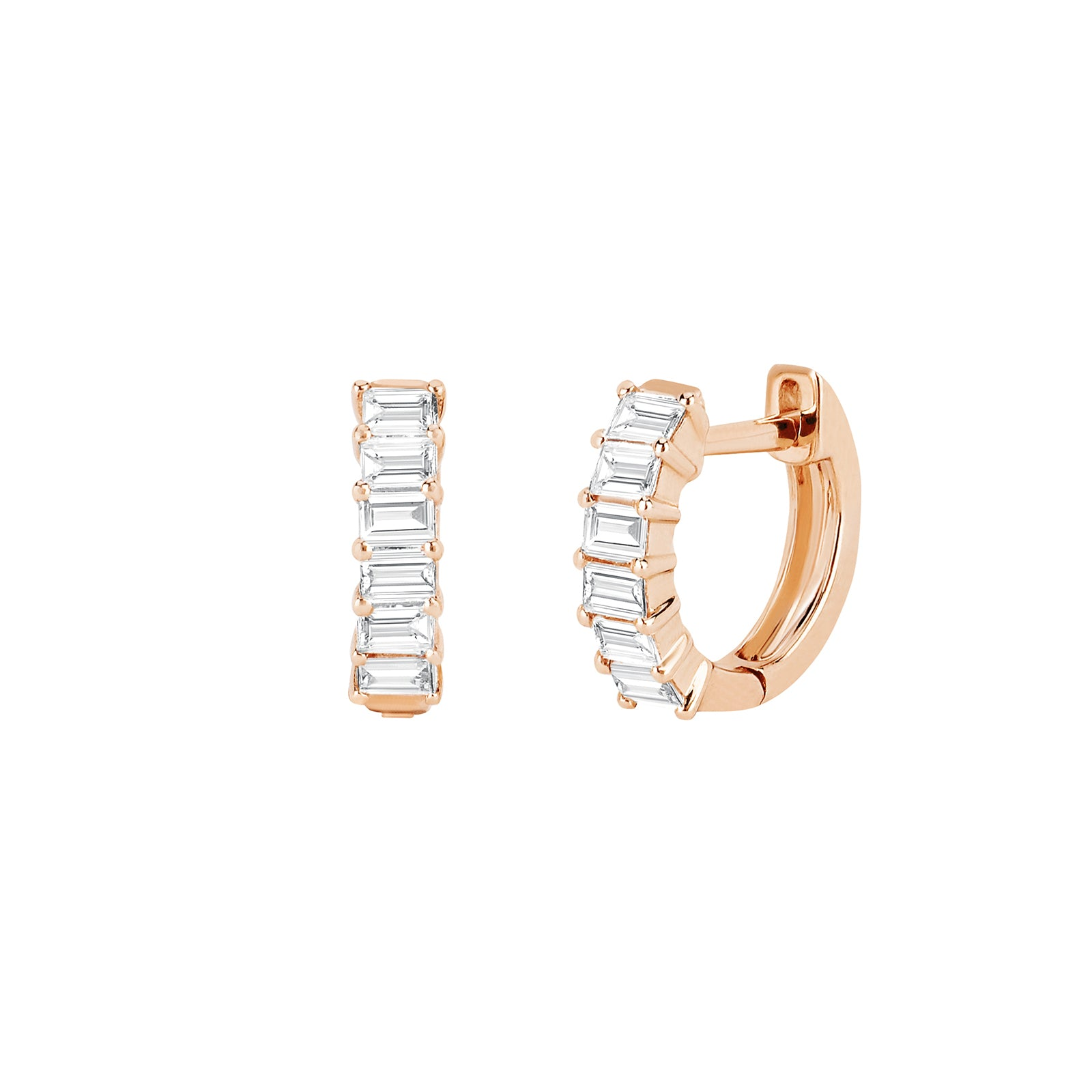 EF Collection Diamond Baguette Huggies - Rose Gold - Earrings - Broken English Jewelry