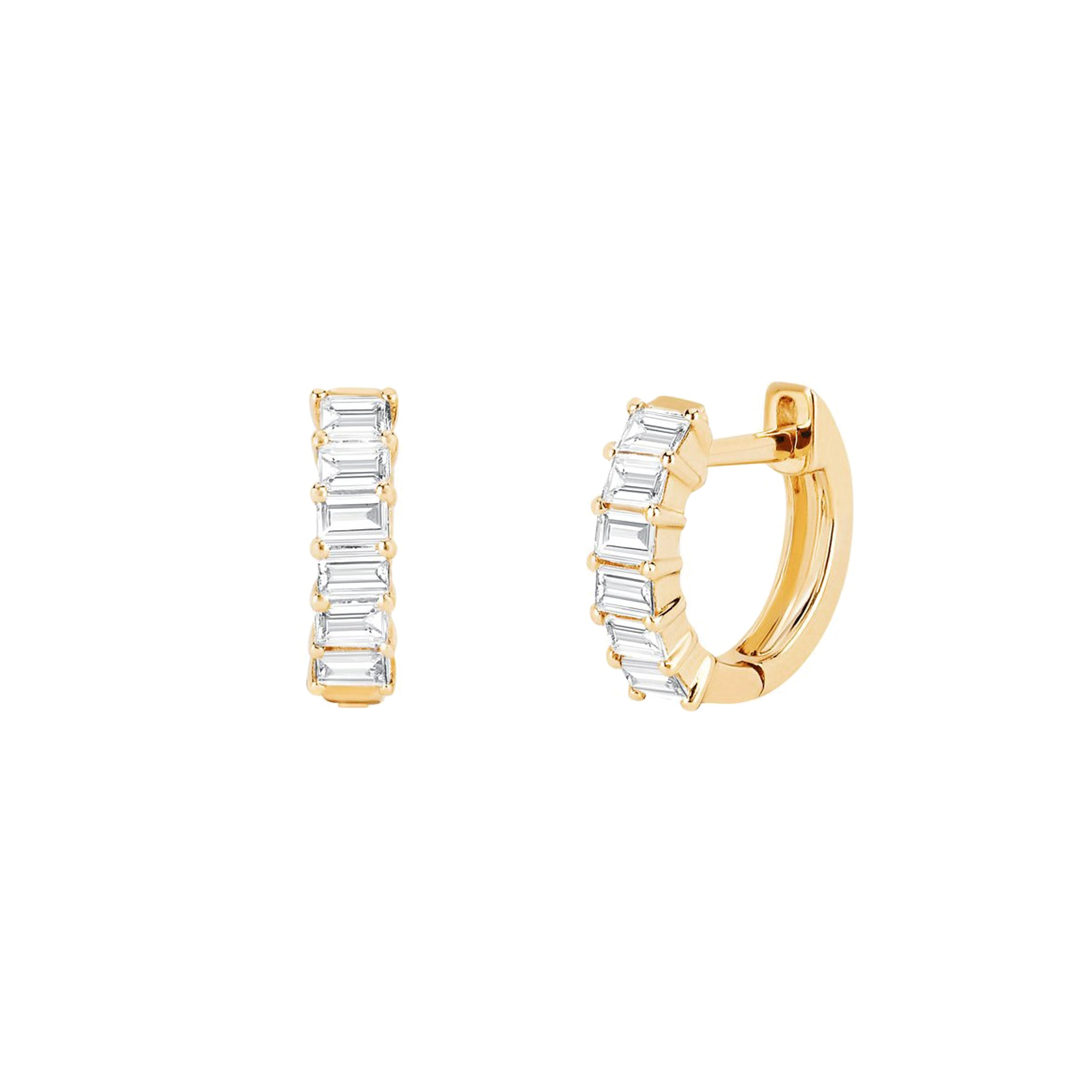 EF Collection Diamond Bezel Huggies - Earrings - Broken English Jewelry