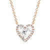 EF Collection Diamond & White Topaz Heart Necklace - Rose Gold - Necklaces - Broken English Jewelry