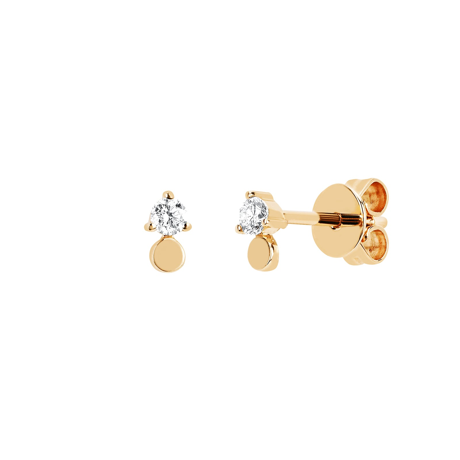 EF Collection Gold Disk Diamond Studs - Yellow Gold - Earrings - Broken English Jewelry