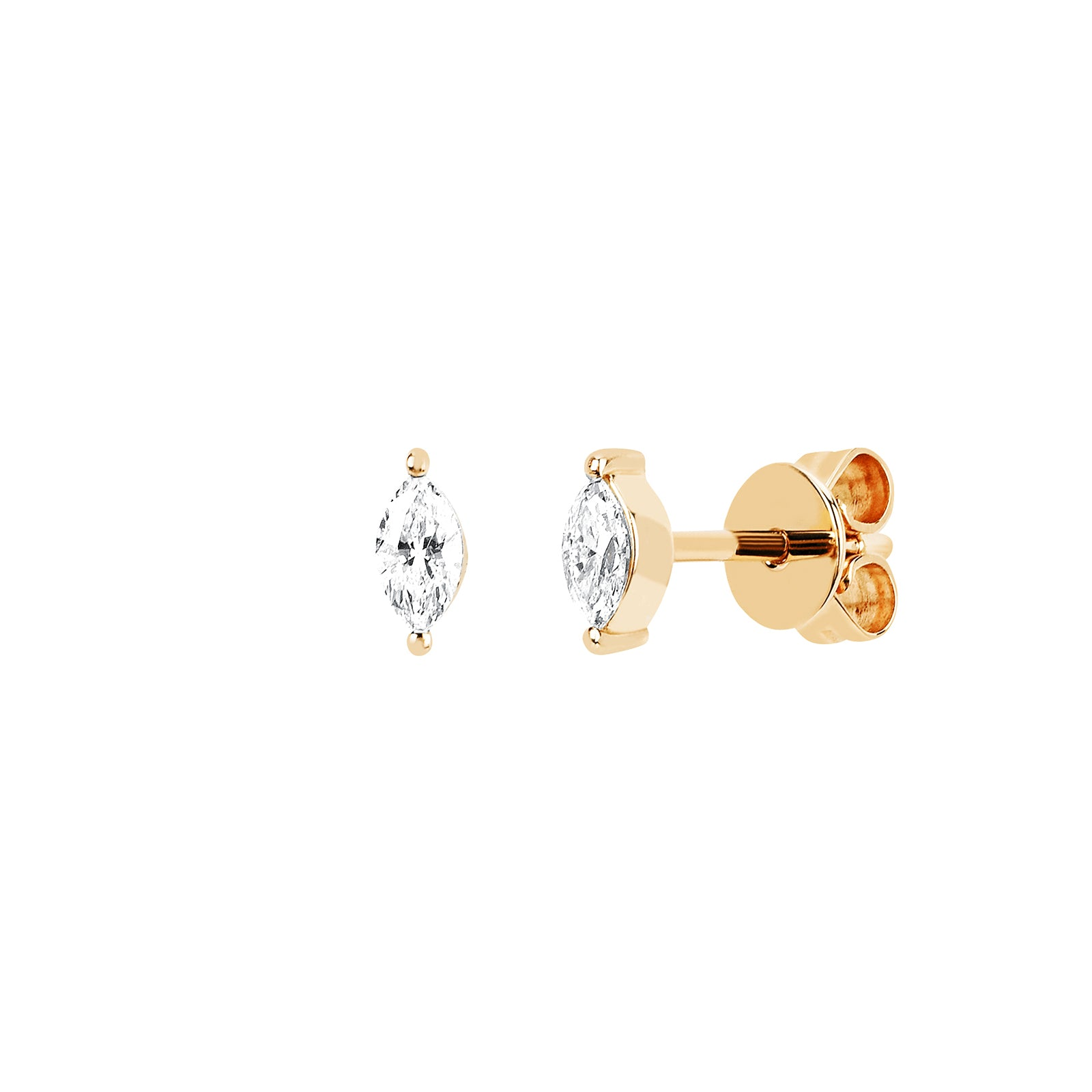 EF Collection Marquise Diamond Studs - Yellow Gold - Earrings - Broken English Jewelry