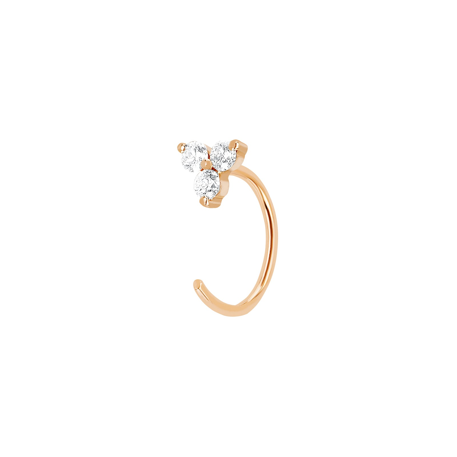 EF Collection Trio Diamond Loop Single Earring - Rose Gold - Earrings - Broken English Jewelry