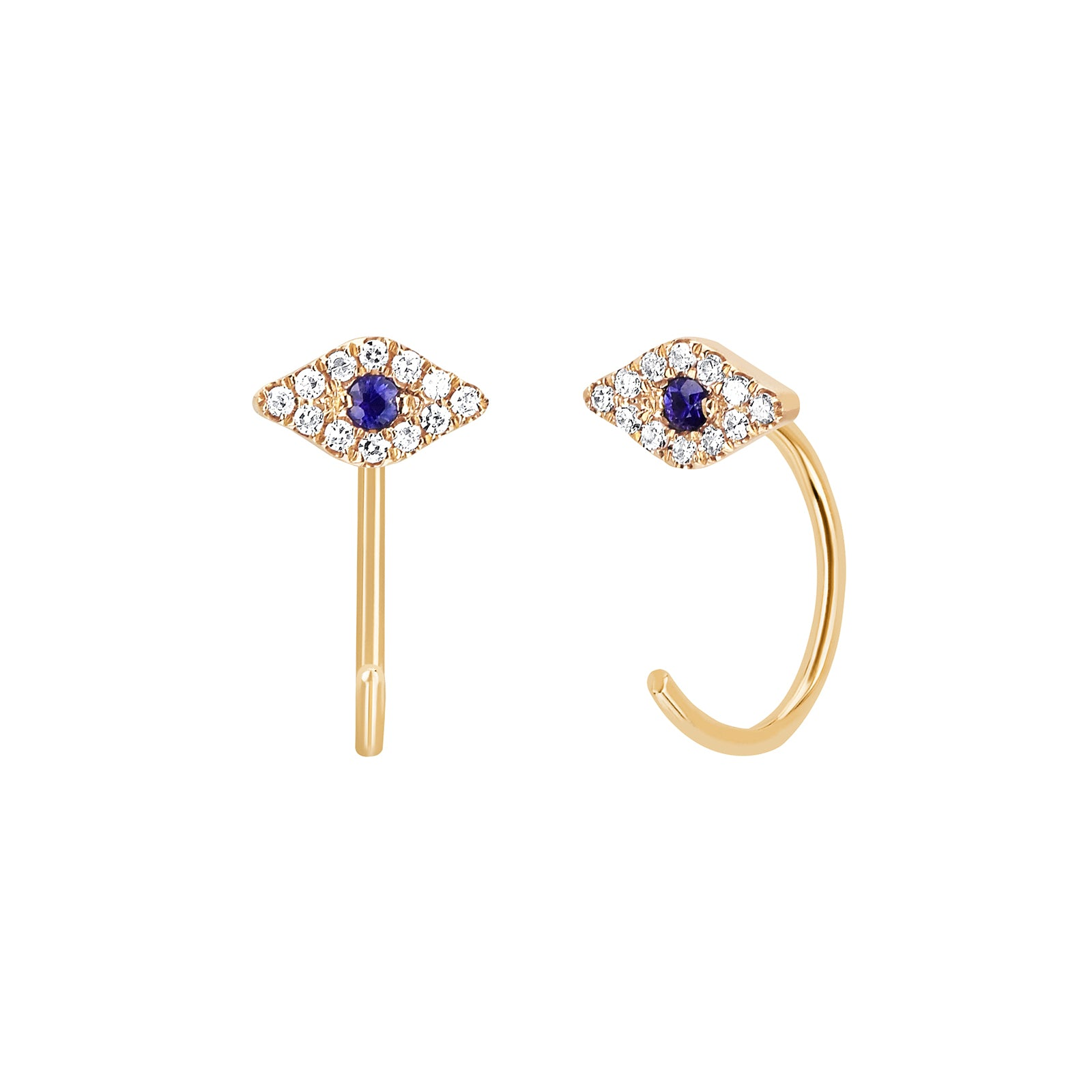 EF Collection Evil Eye Loop Earrings - Yellow Gold - Earrings - Broken English Jewelry