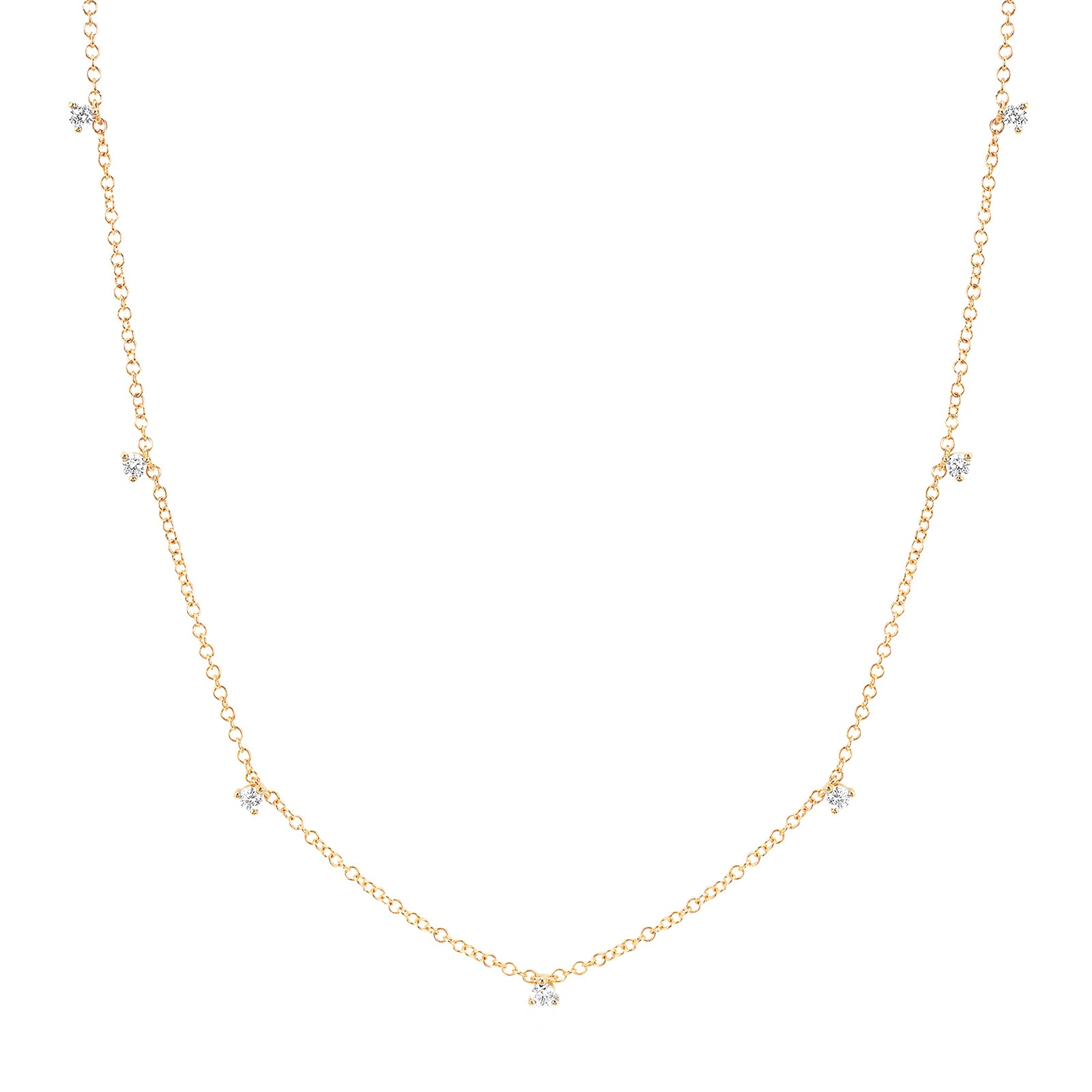 EF Collection 7 Prong Set Diamond Necklace - Yellow Gold - Necklaces - Broken English Jewelry