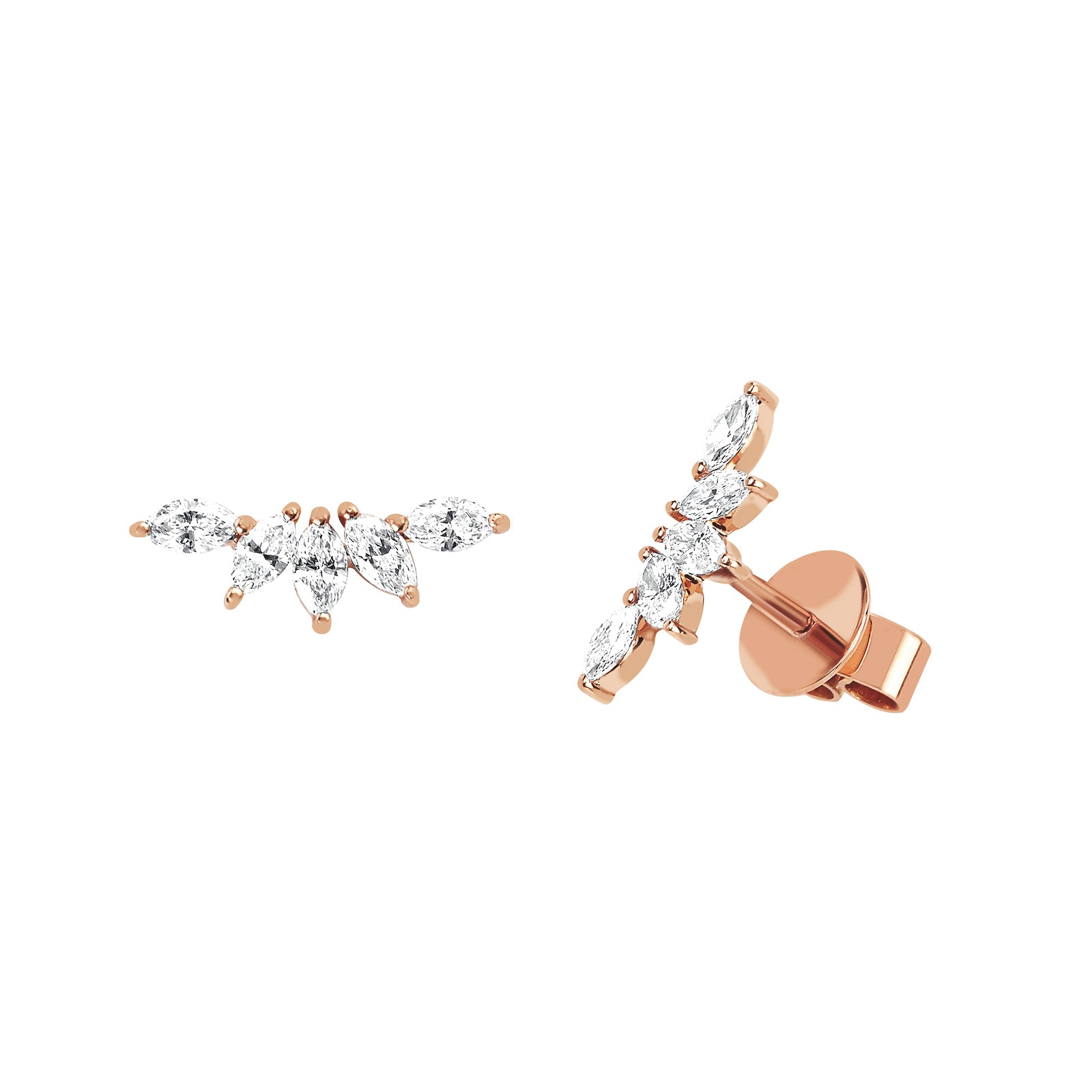 EF Collection Marquise Diamond Fan Earrings - Rose Gold - Earrings - Broken English Jewelry