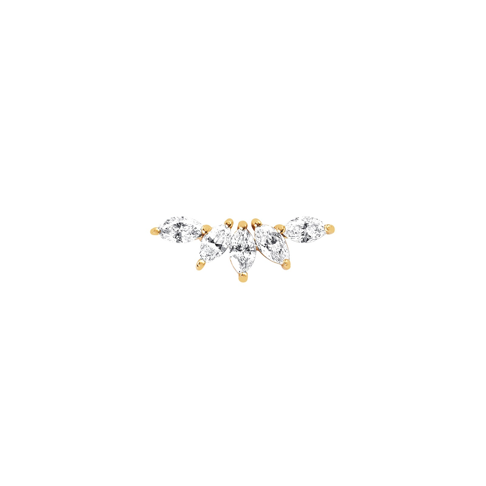EF Collection Marquise Diamond Fan Earring - Yellow Gold - Earrings - Broken English Jewelry