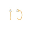 EF Collection Diamond Loop Earrings - Yellow Gold - Earrings - Broken English Jewelry