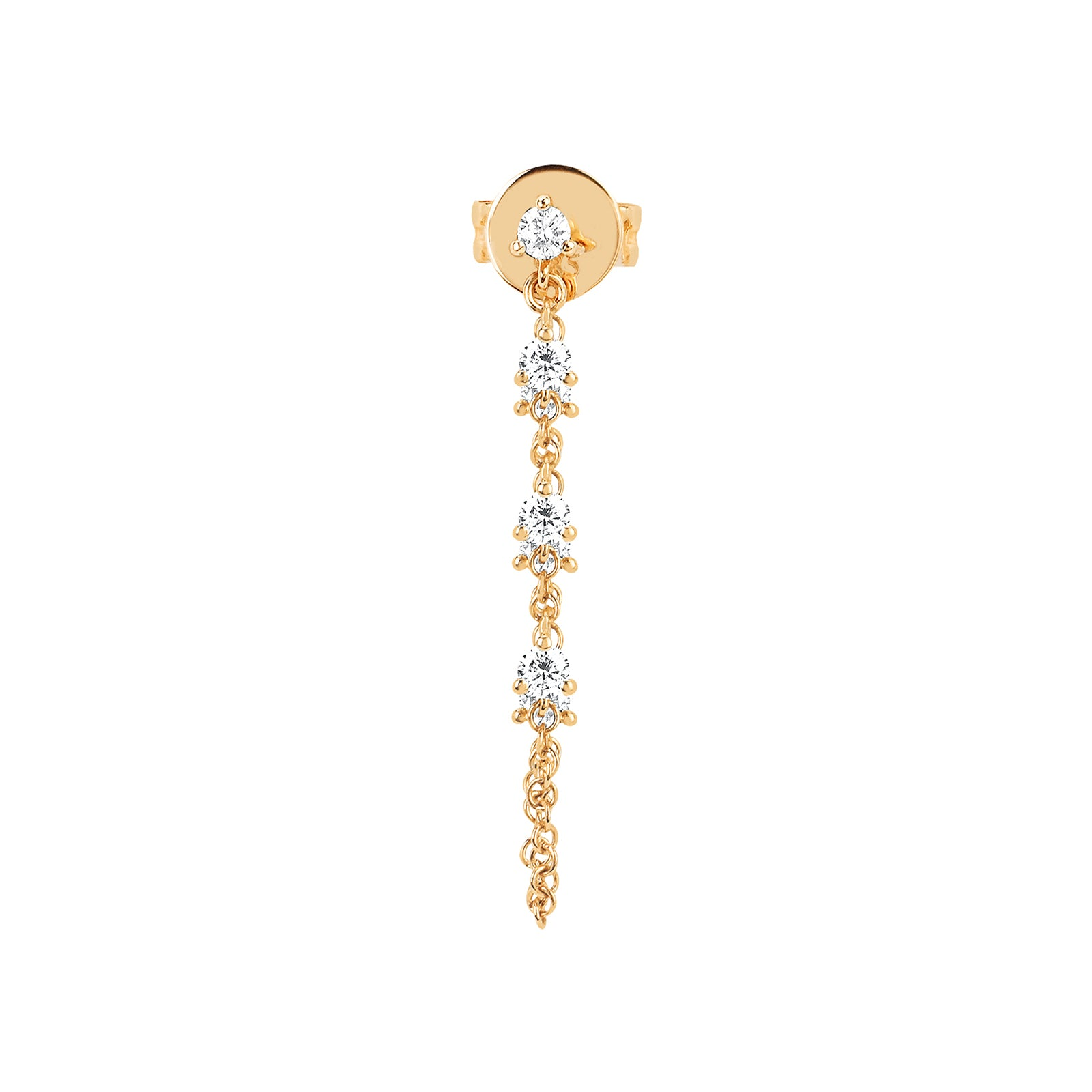 EF Collection Diamond Chain Earring - Yellow Gold - Earrings - Broken English Jewelry