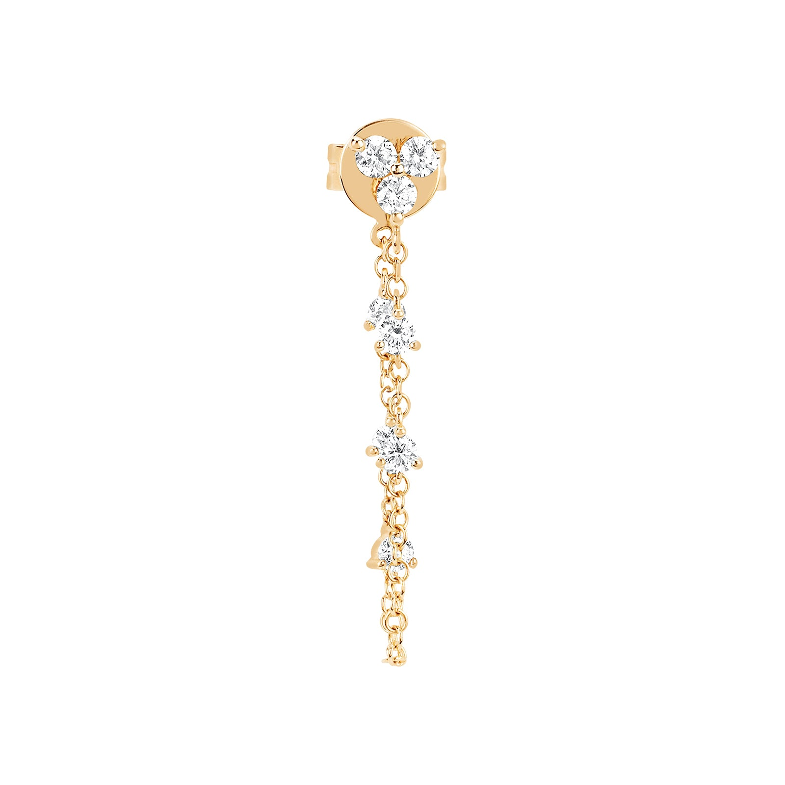 EF Collection Diamond Trio Chain Earring - Yellow Gold - Earrings - Broken English Jewelry