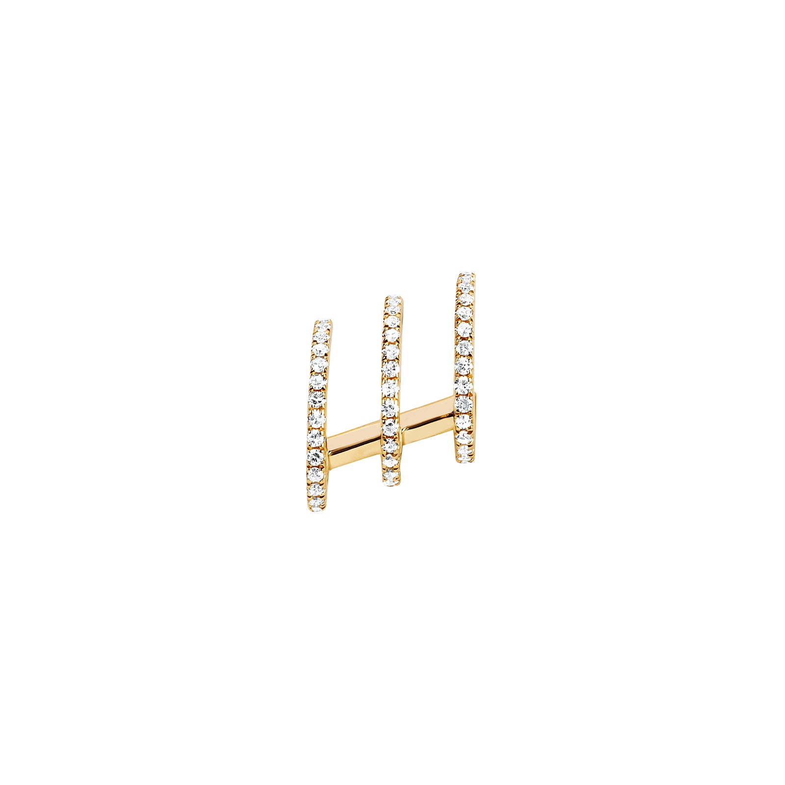 EF Collection Left Triple Illusion Diamond Stud - Yellow Gold - Earrings - Broken English Jewelry
