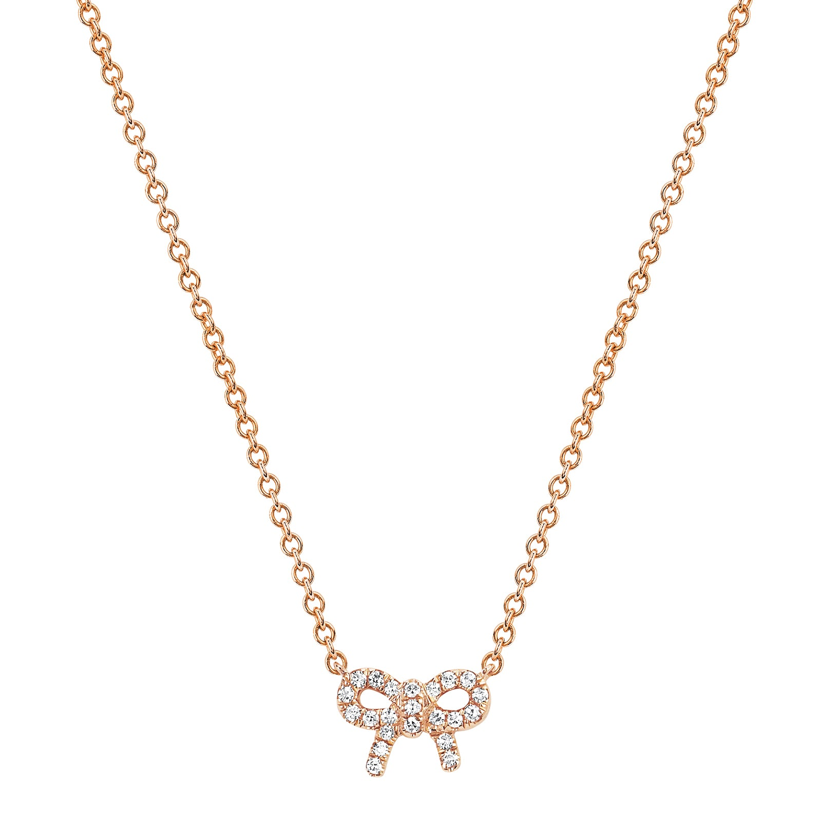 EF Collection Diamond Mini Bow Necklace - Rose Gold - Necklaces - Broken English Jewelry