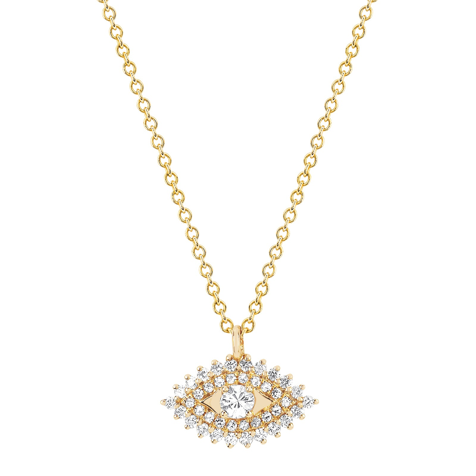 EF Collection Diamond & Sapphire Evil Eye Necklace - Yellow Gold - Necklaces - Broken English Jewelry