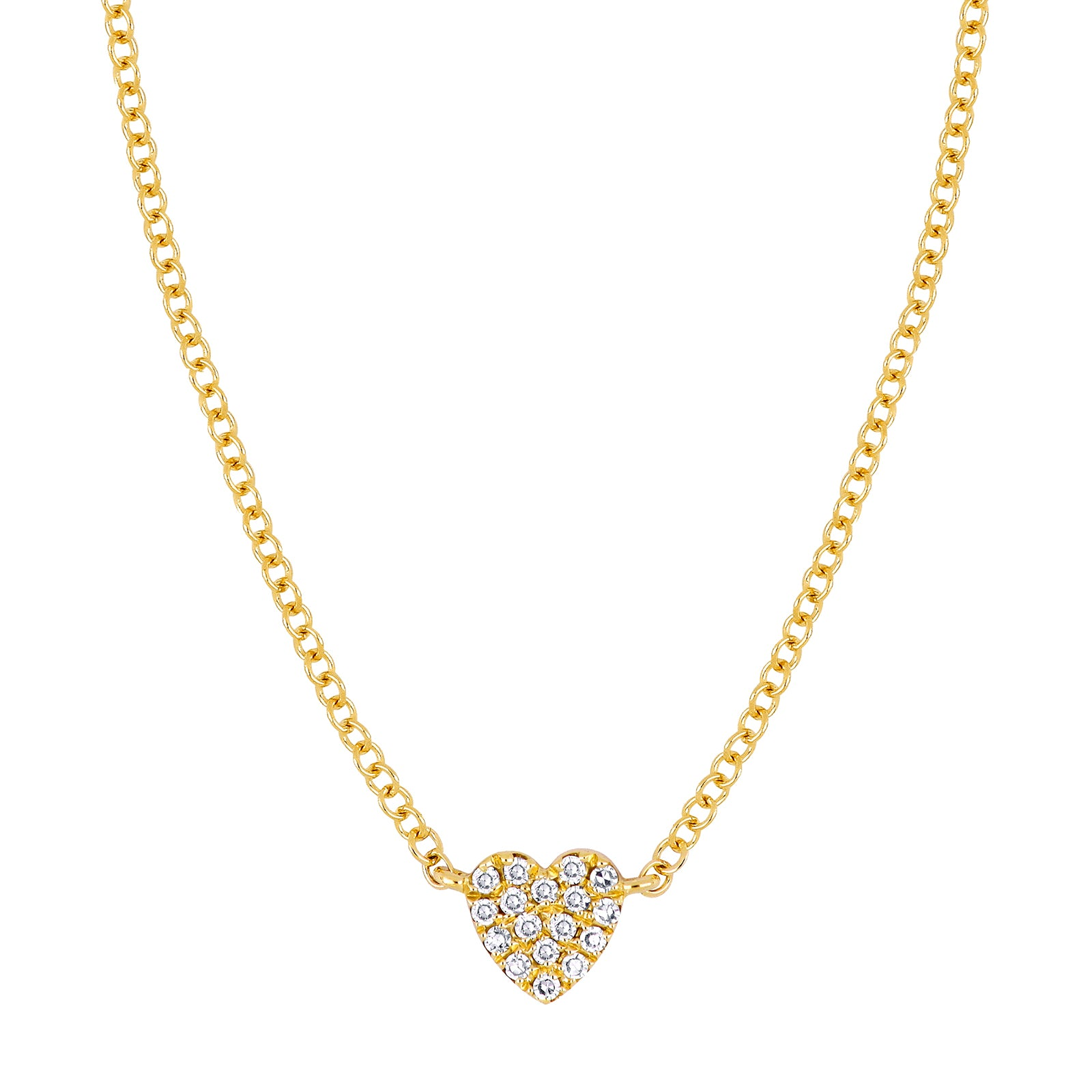 EF Collection Single Heart Diamond Necklace - Yellow Gold - Necklaces - Broken English Jewelry