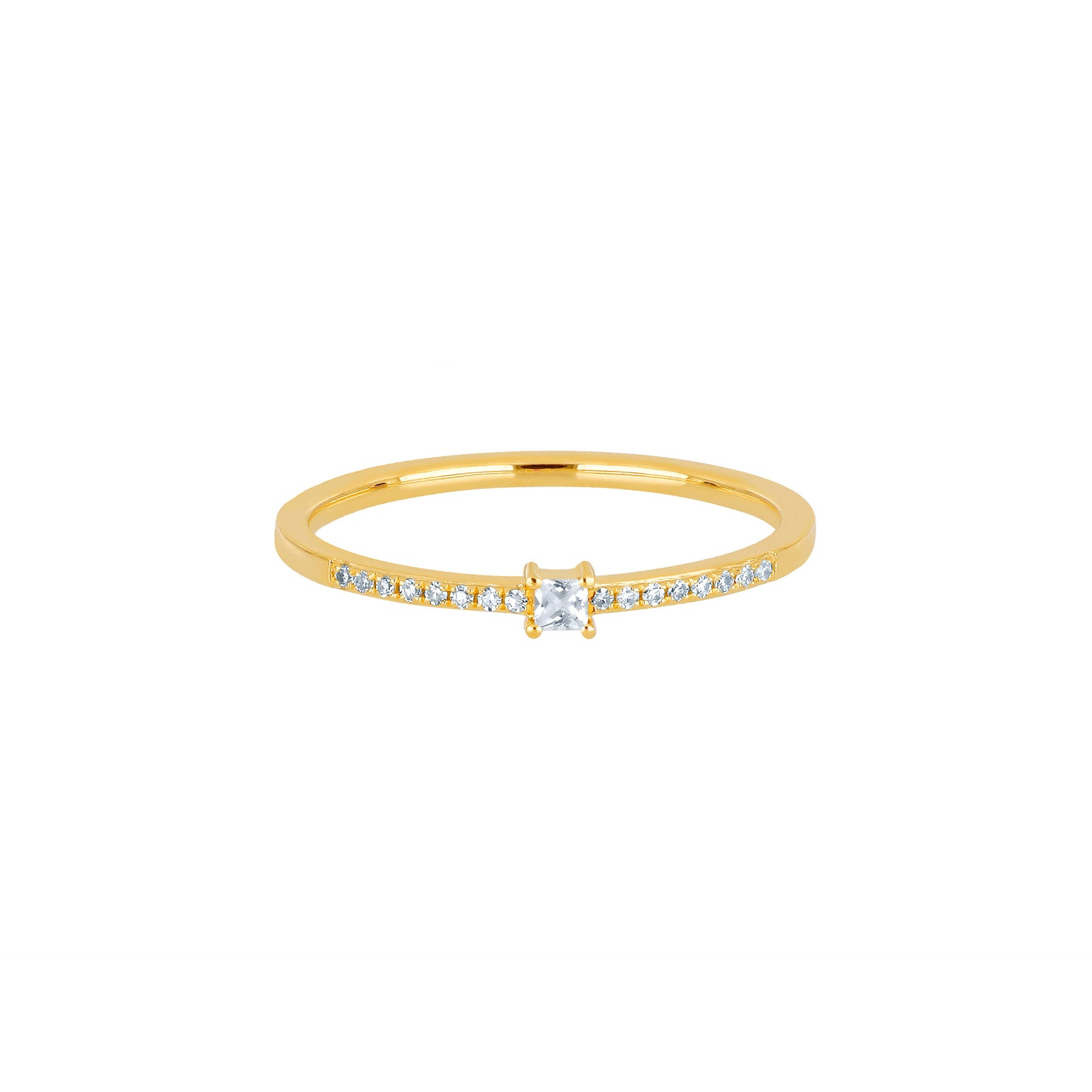 EF Collection Quartz & Diamond Princess Stack Ring - Yellow Gold - Rings - Broken English Jewelry