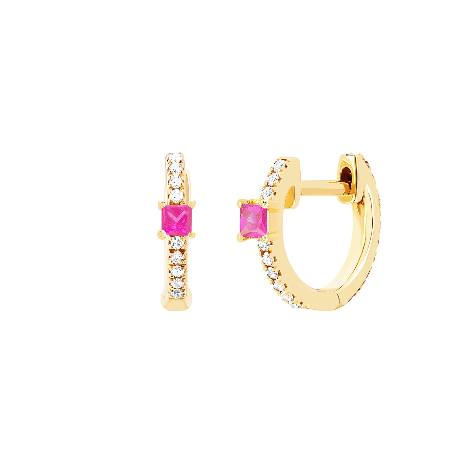 EF Collection Princess Pink Sapphire Mini Huggies - Yellow Gold - Earrings - Broken English Jewelry