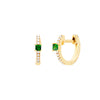 EF Collection Princess Tsavorite Mini Huggies - Yellow Gold - Earrings - Broken English Jewelry