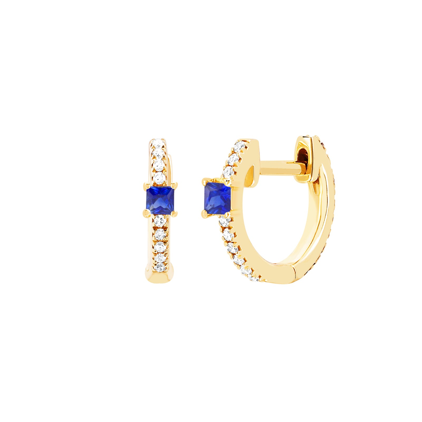 EF Collection Princess Sapphire Mini Huggie - Yellow Gold - Earrings - Broken English Jewelry