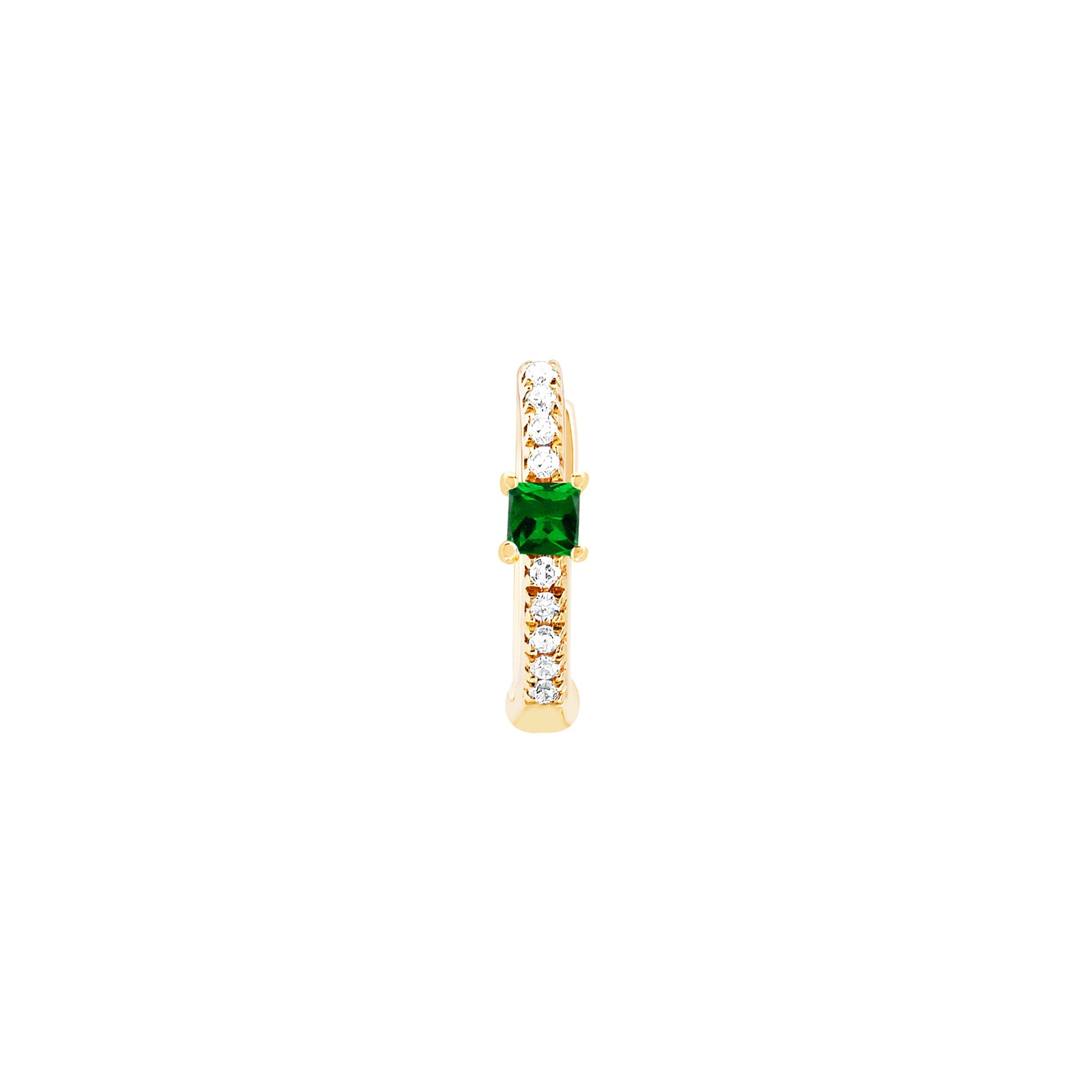 EF Collection Princess Tsavorite Mini Huggie - Yellow Gold - Earrings - Broken English Jewelry