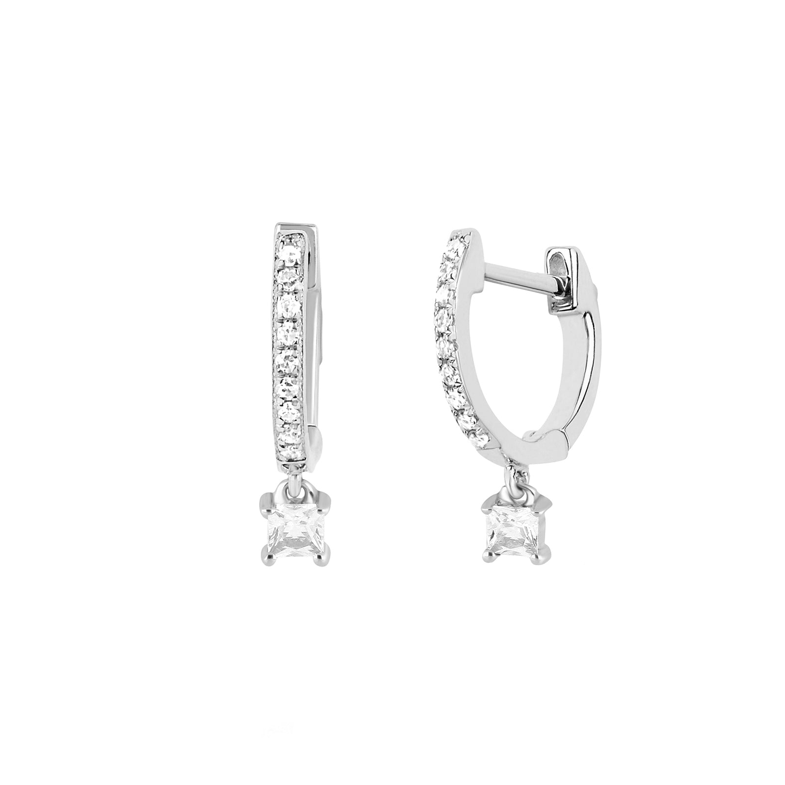 EF Collection Princess Quartz Drop Huggies - White Gold - Earrings - Broken English Jewelry