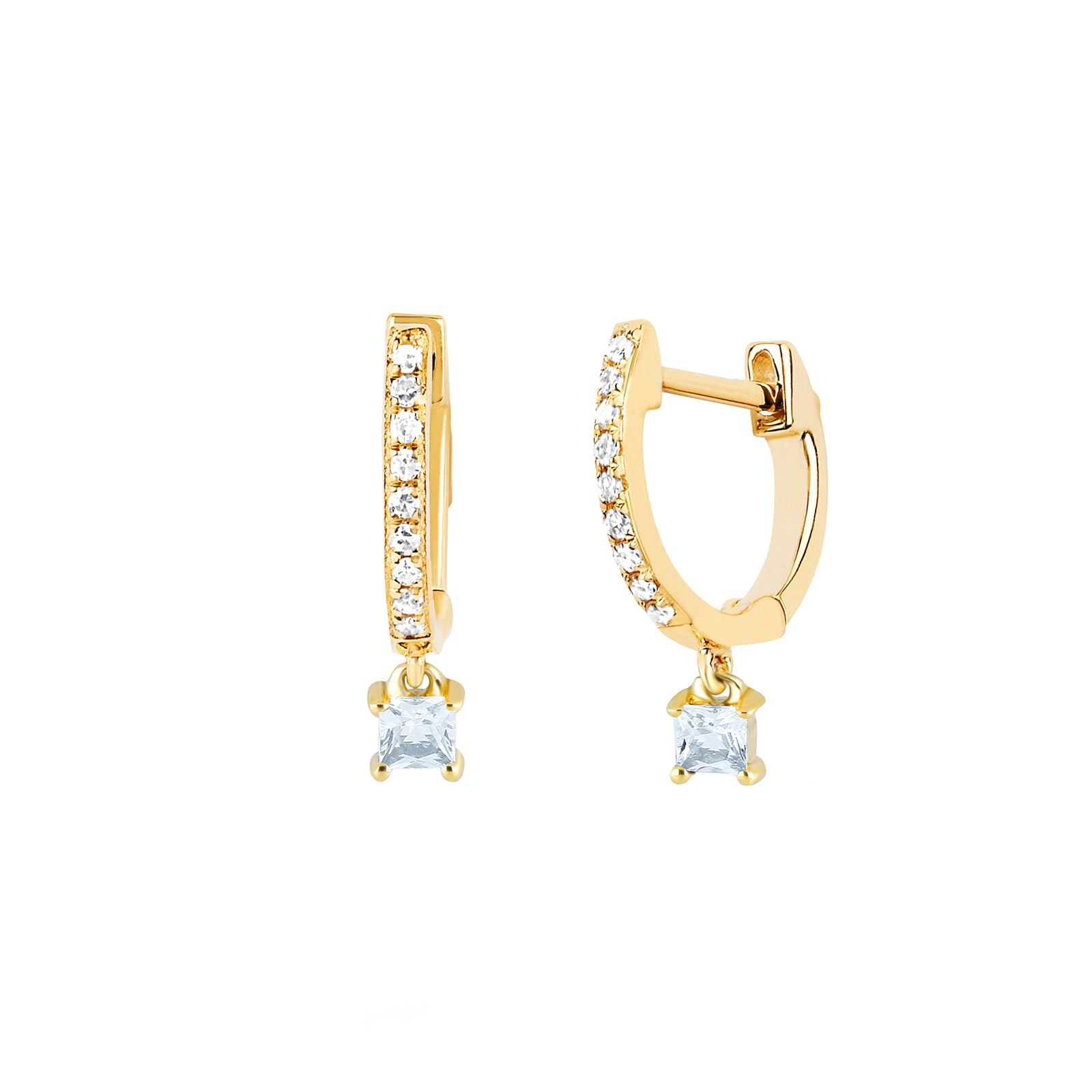 EF Collection Princess Quartz Drop Huggies - Yellow Gold - Earrings - Broken English Jewelry