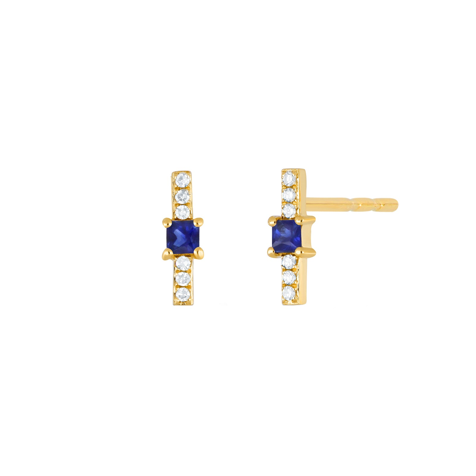EF Collection Sapphire & Diamond Princess Bar Studs - Yellow Gold - Earrings - Broken English Jewelry