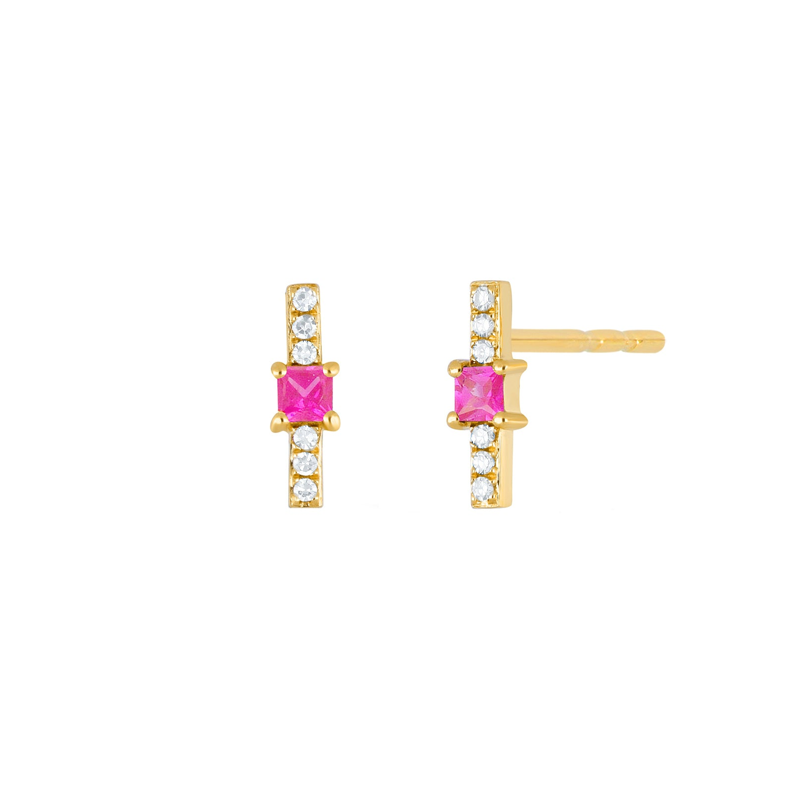 EF Collection Pink Sapphire & Diamond Princess Bar Studs - Yellow Gold - Earrings - Broken English Jewelry