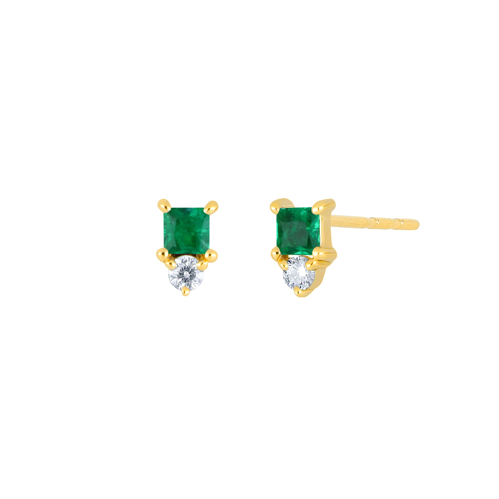 EF Collection Mini Emerald Birthstone Studs - Yellow Gold - Earrings - Broken English Jewelry