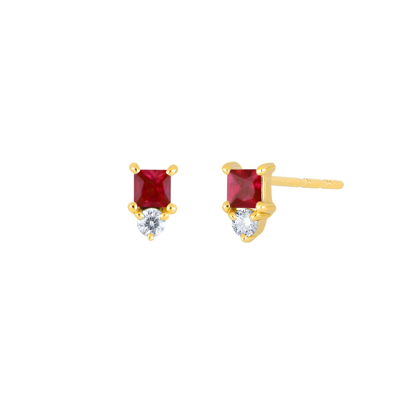 EF Collection Mini Ruby Birthstone Studs - Yellow Gold - Earrings - Broken English Jewelry