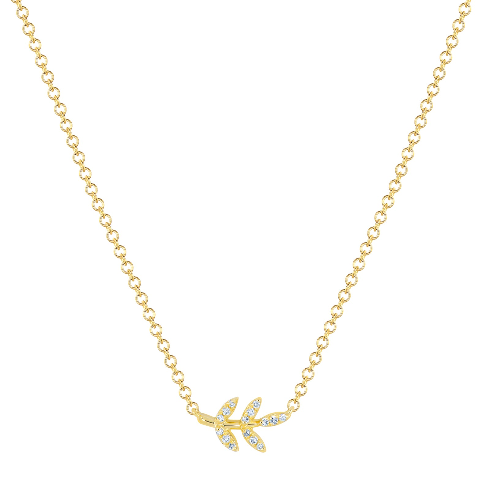 EF Collection Leaf Necklace - Yellow Gold - Necklaces - Broken English Jewelry