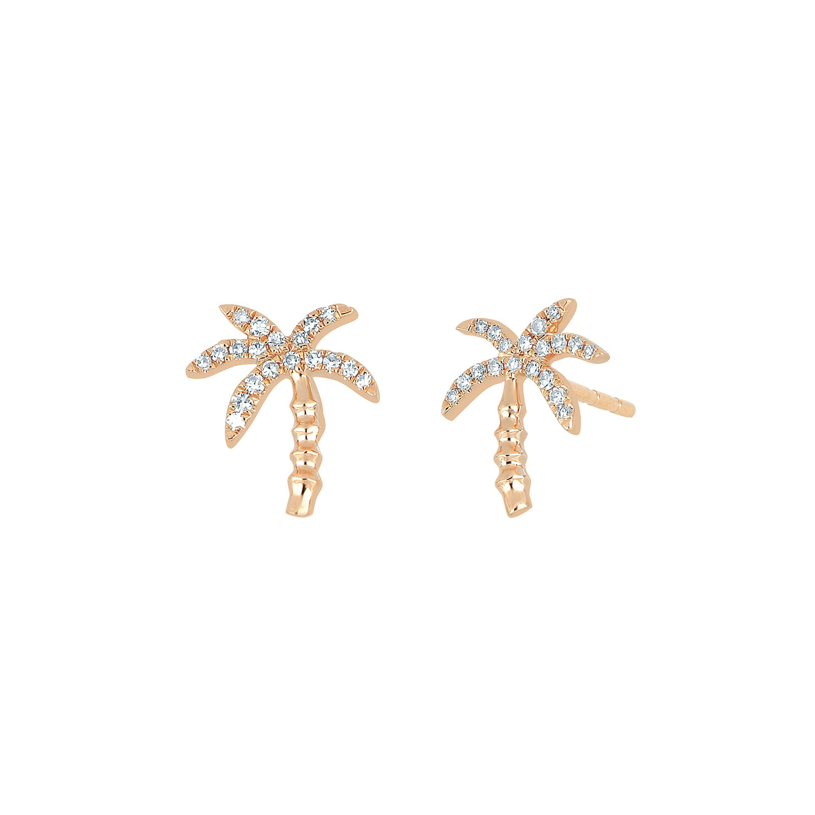 EF Collection Wild Palm Diamond Studs - Rose Gold - Earrings - Broken English Jewelry