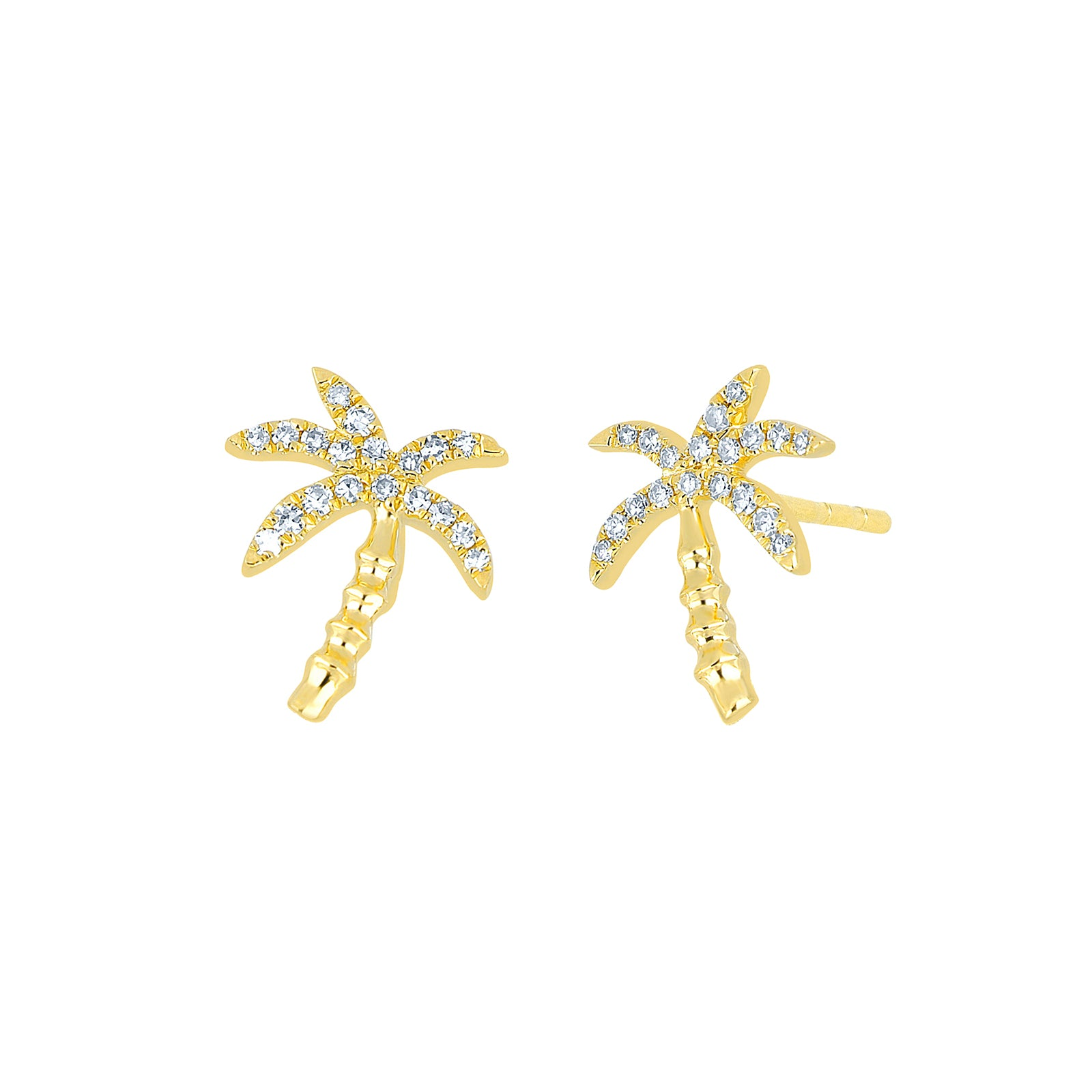 EF Collection Wild Palm Diamond Studs - Yellow Gold - Earrings - Broken English Jewelry