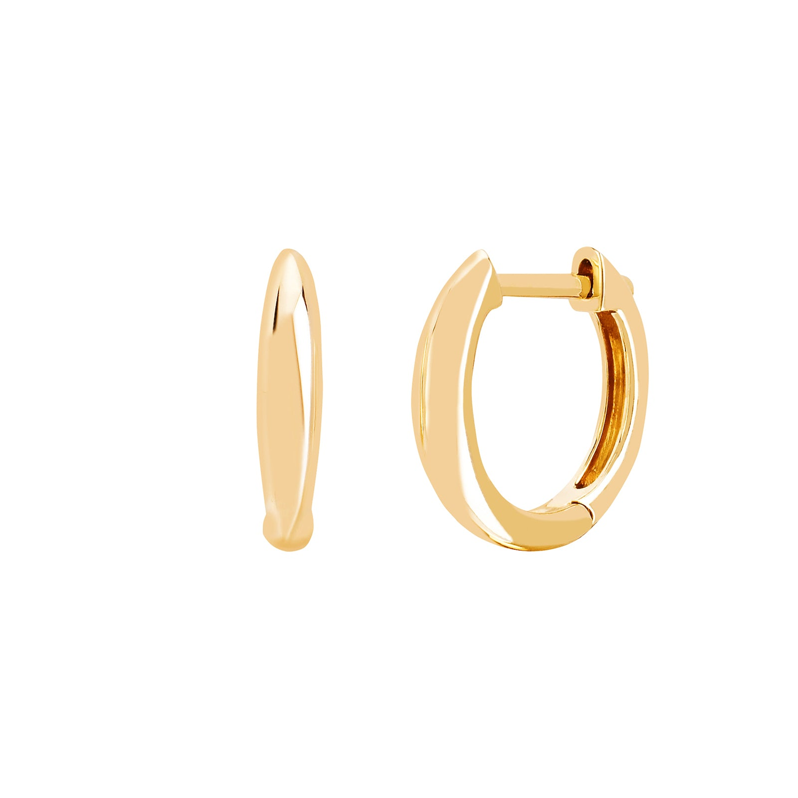 EF Collection Mini Dome Huggies - Yellow Gold - Earrings - Broken English Jewelry