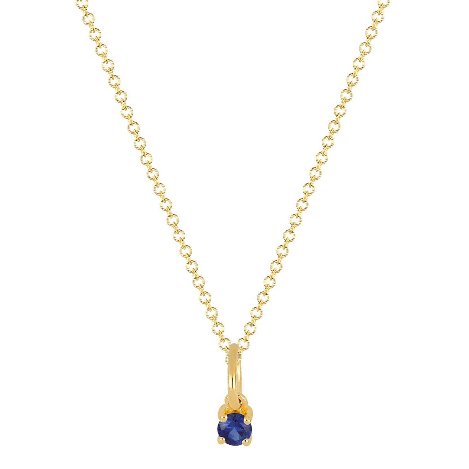 EF Collection Sapphire Birthstone Necklace - Yellow Gold - Necklaces - Broken English Jewelry