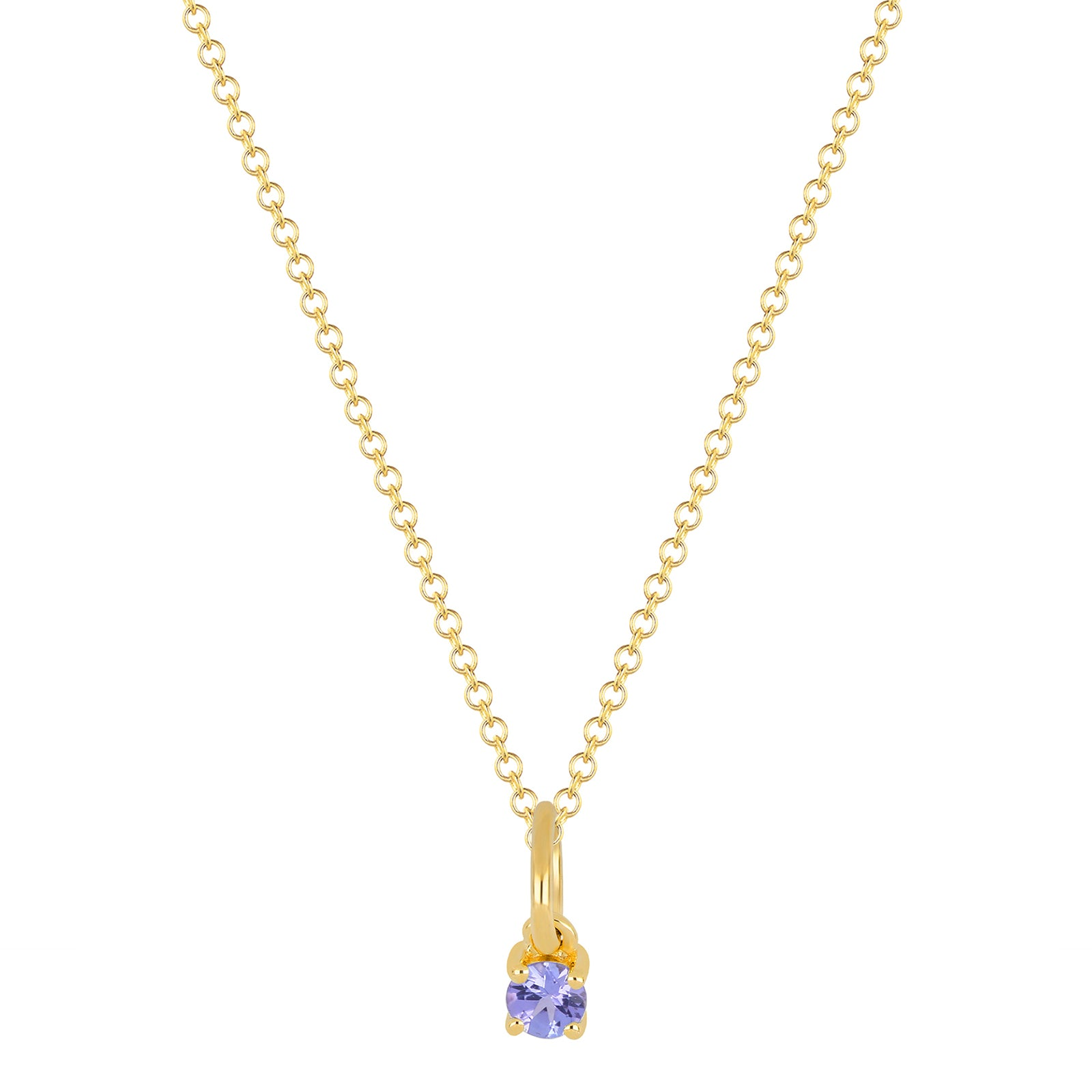 EF Collection Tanzanite Birthstone Necklace - Yellow Gold - Necklaces - Broken English Jewelry